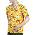 Sun Surf Rayon Made Regular Fit Short Sleeve Yellow Hawaiian Shirt with Hawaiian Hula Print and Wooden Buttons SURF8587