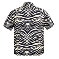 Star of Hollywood Rayon Short Sleeve Cuban Collared SH37879 Hawaiian Shirt with Zebra Print and Wooden Buttons SoH8663