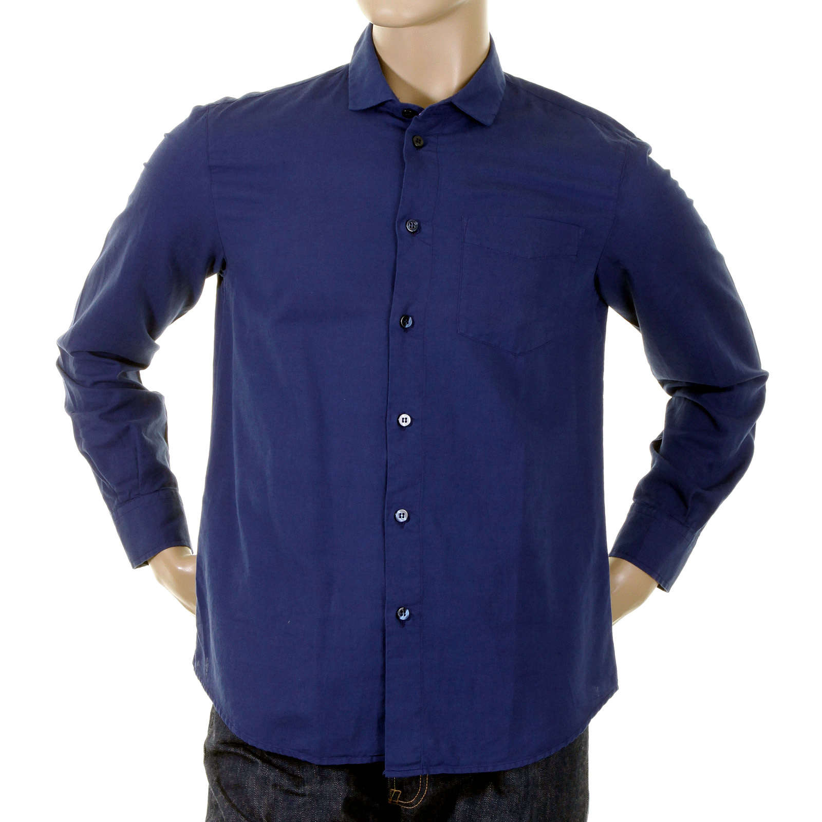 Armani jeans mens shirt long sleeve dark blue k6c7 0pg for Mens jeans and dress shirt