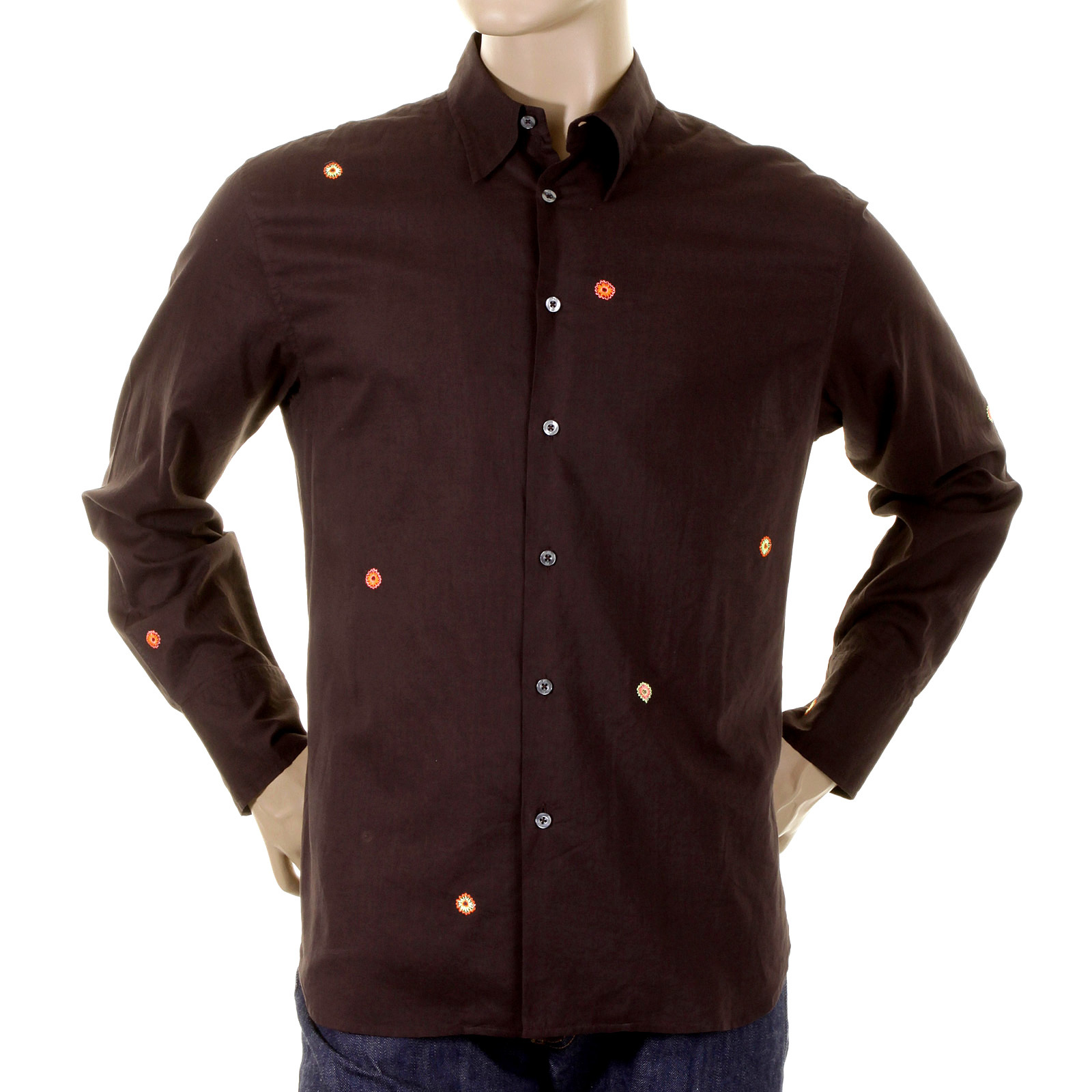 Paul smith shirt mens dark brown long sleeve shirt 721e for Mens chocolate brown shirt