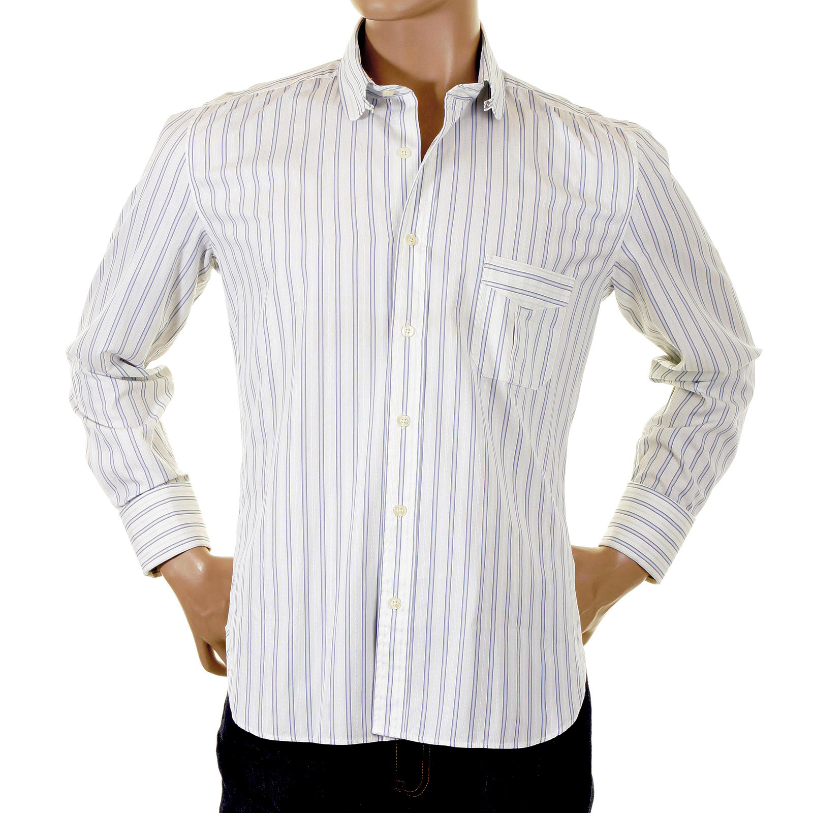 Paul Smith shirt double cuff mens blue and white striped shirt ...