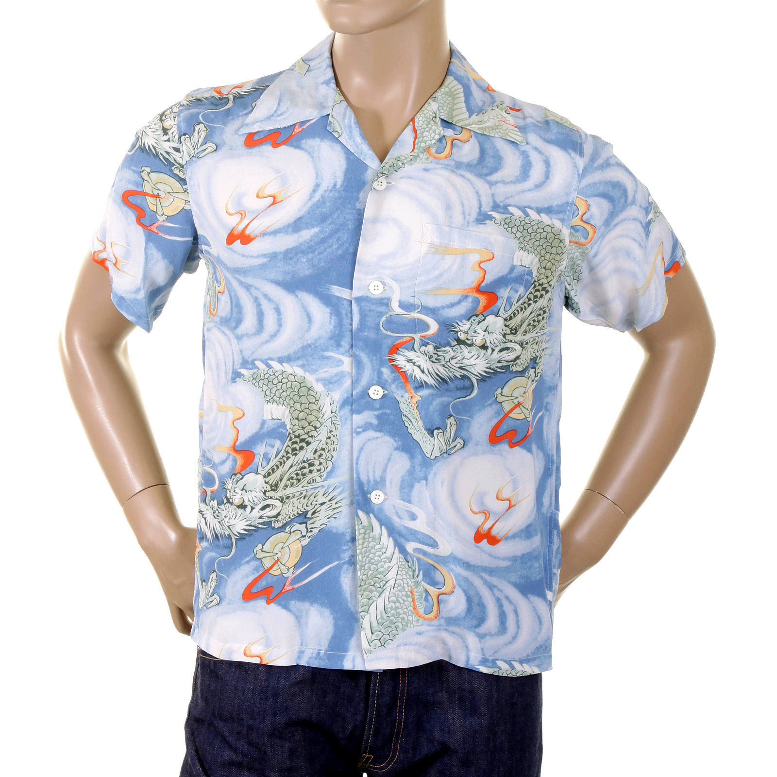 Classy and edgy light blue hawaiian shirt by sun surf for Men s regular fit shirts