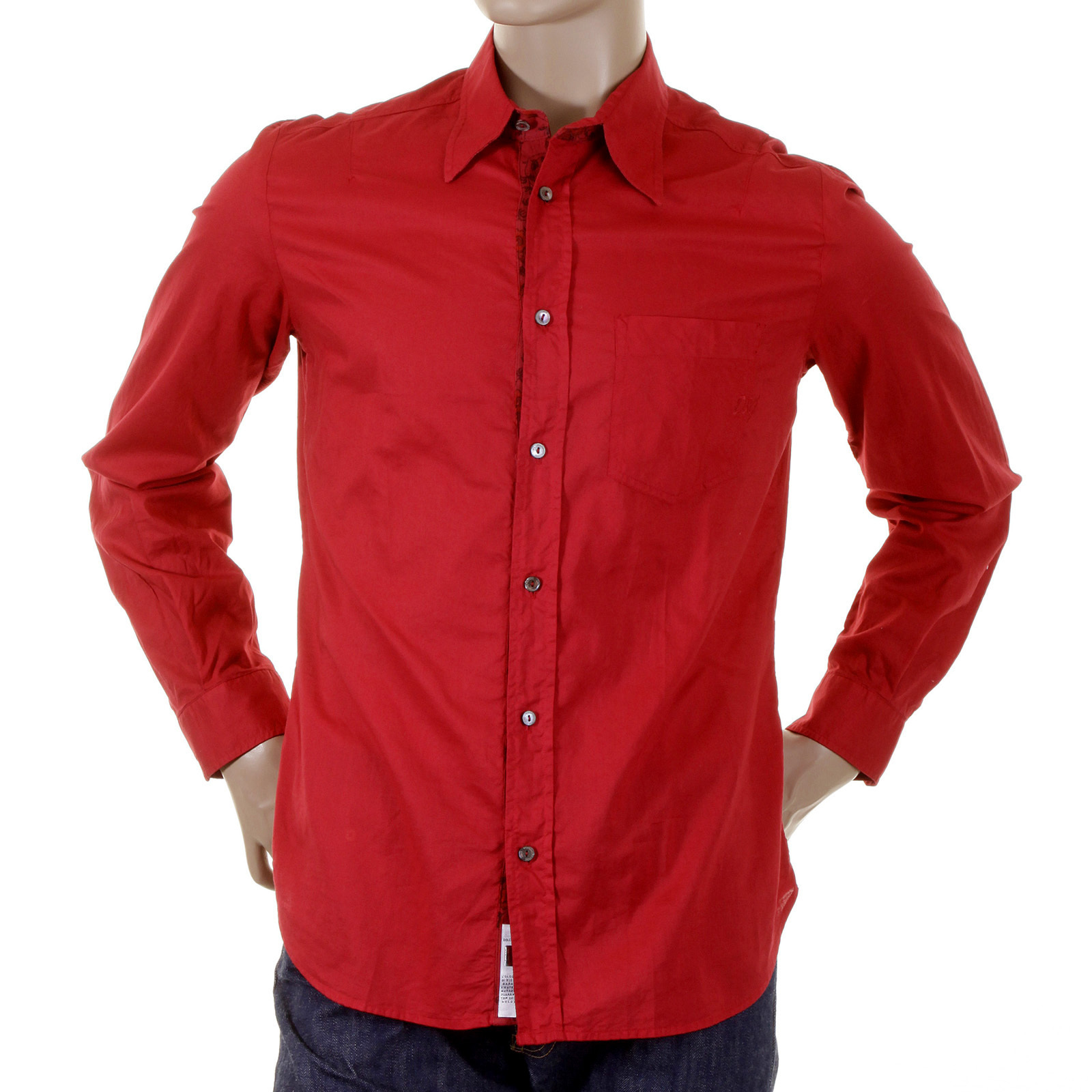 D&G mens shirt Dolce & Gabbana fitted red shirt 1630354011NYR ...