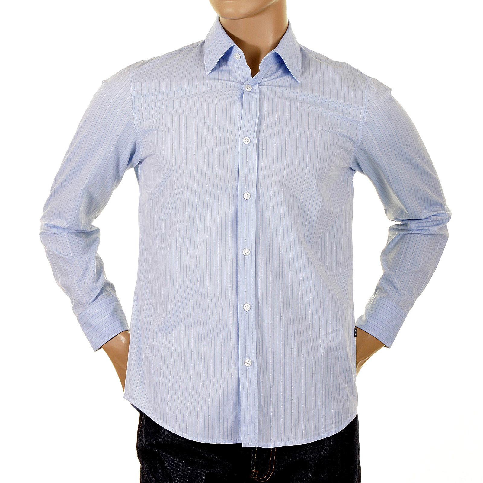 Hugo boss shirt lex 02731750 pale blue striped shirt for Hugo boss dress shirts