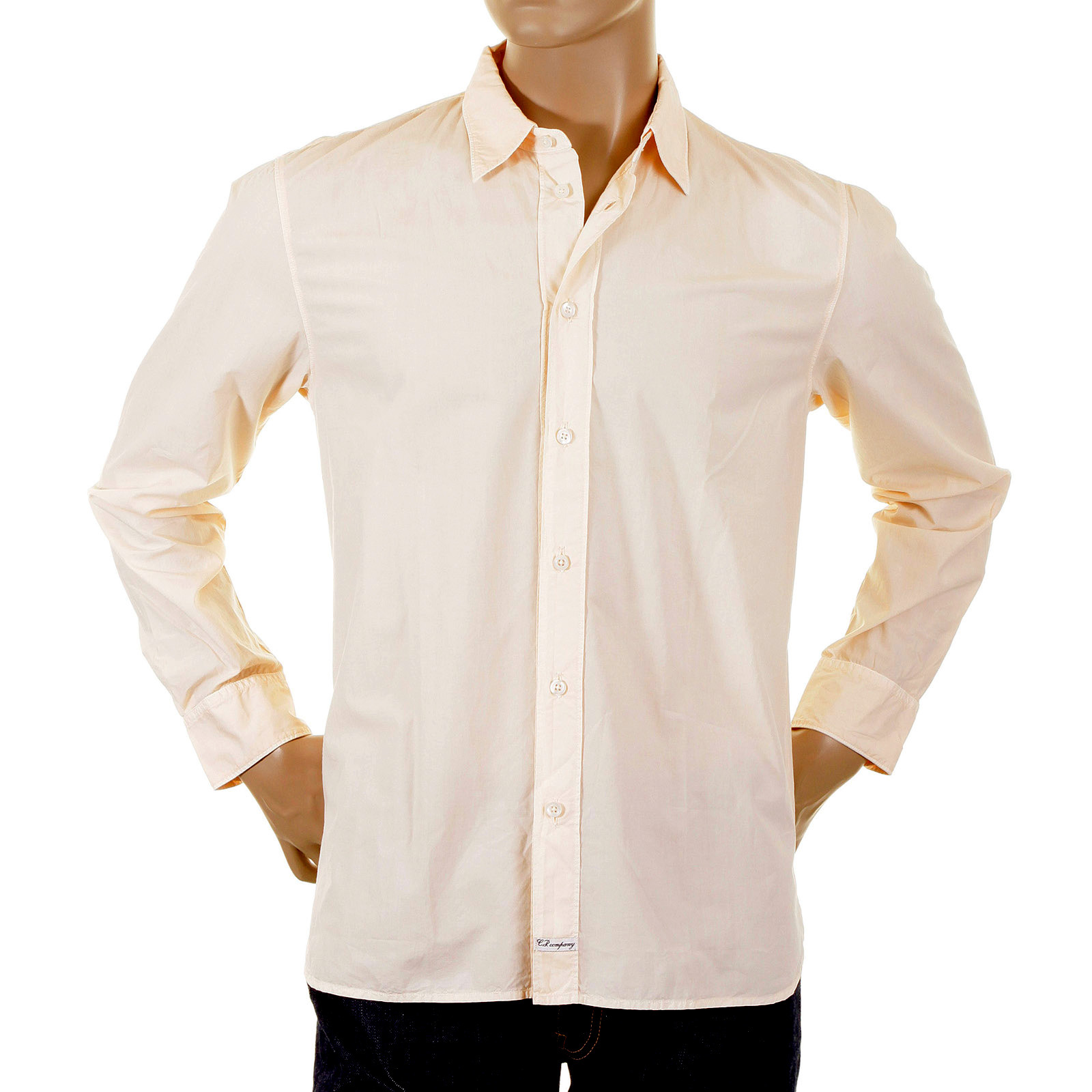 CP Company Shirt mens washed peach long sleeve shirt 44181526 ...
