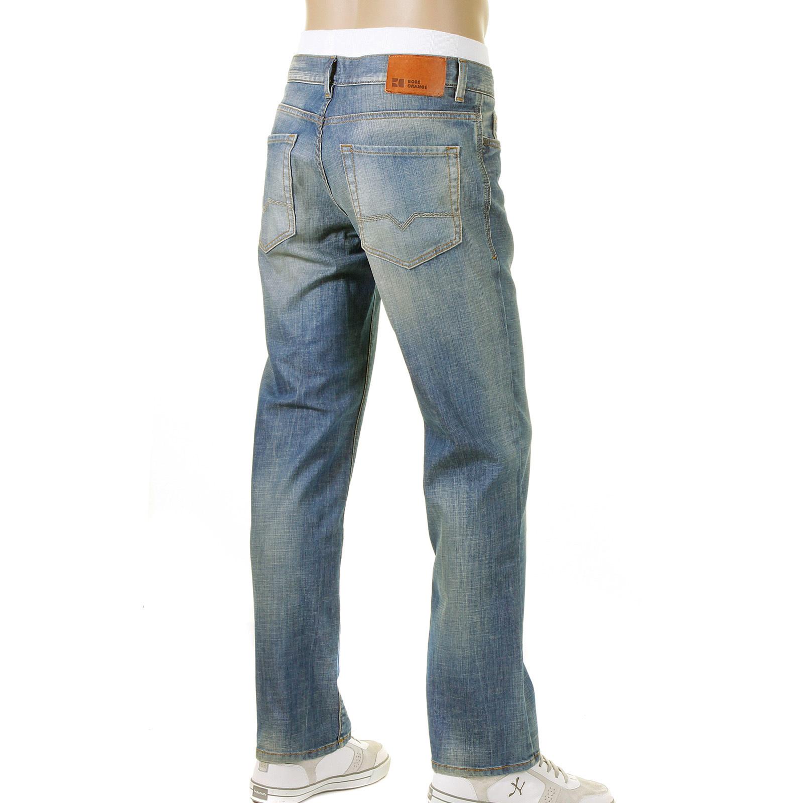 boss orange jeans hb31 450 scraped blue hugo boss denim jean boss4899. Black Bedroom Furniture Sets. Home Design Ideas