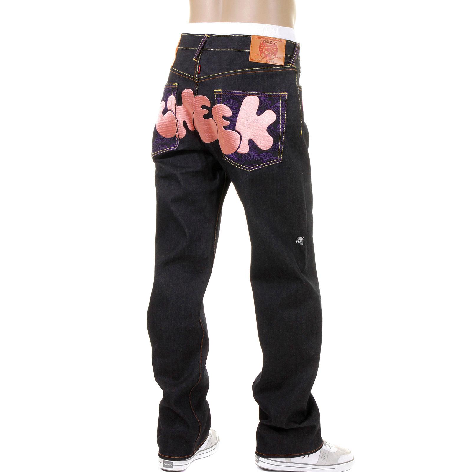 Rmc Jeans Dark Indigo Vintage Cut Raw Denim With Dizzee Rascal Tongue N Cheek Purple