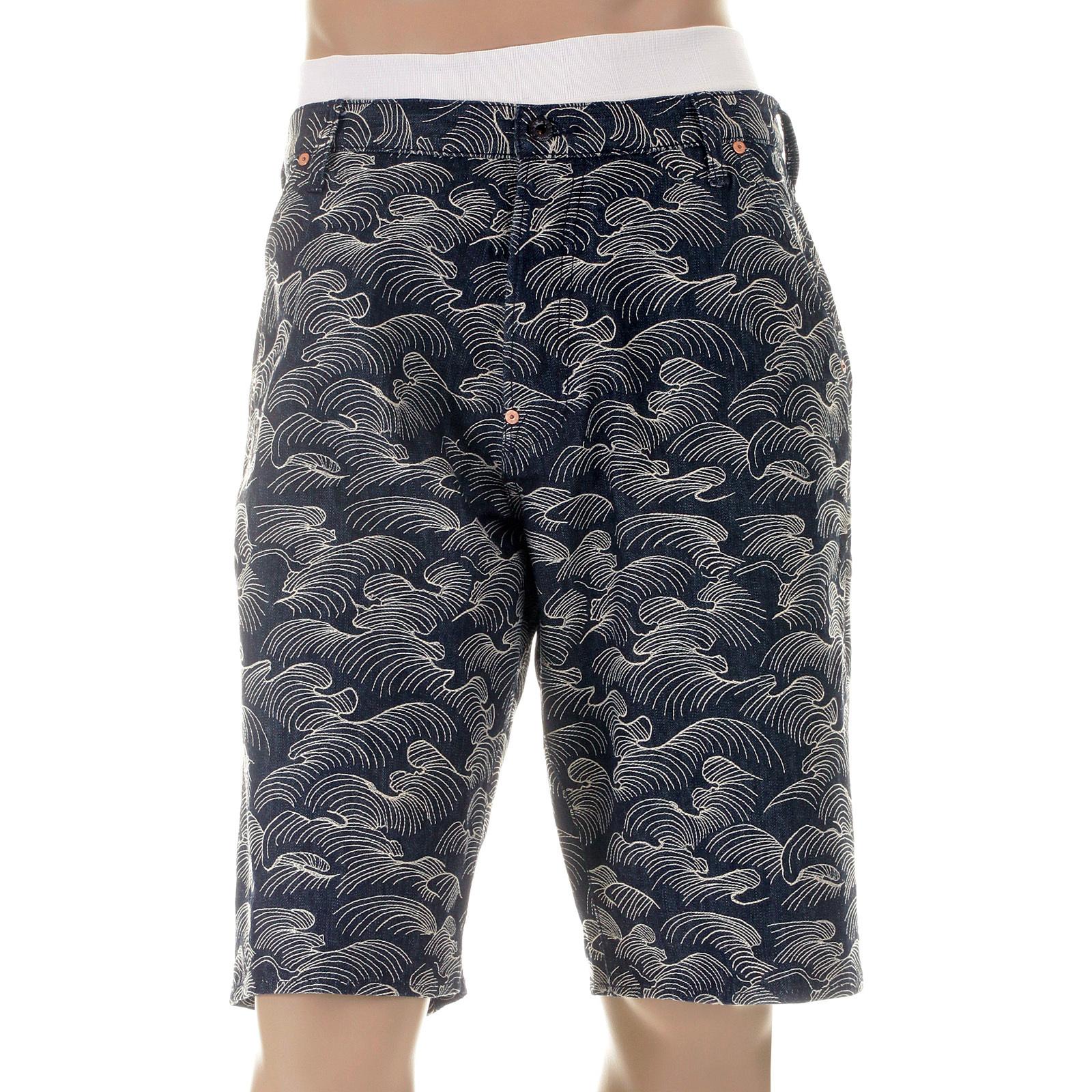 RMC Martin Ksohoh Shorts White Embroidered Tsunami Wave Denim Shorts REDM5219