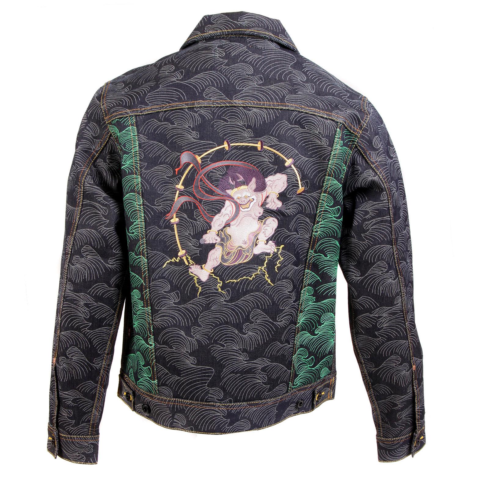 New Design Head Embroidery Denim Jacket Men 2015 Single Breasted Blue Jean  Jacket Coat Turn-