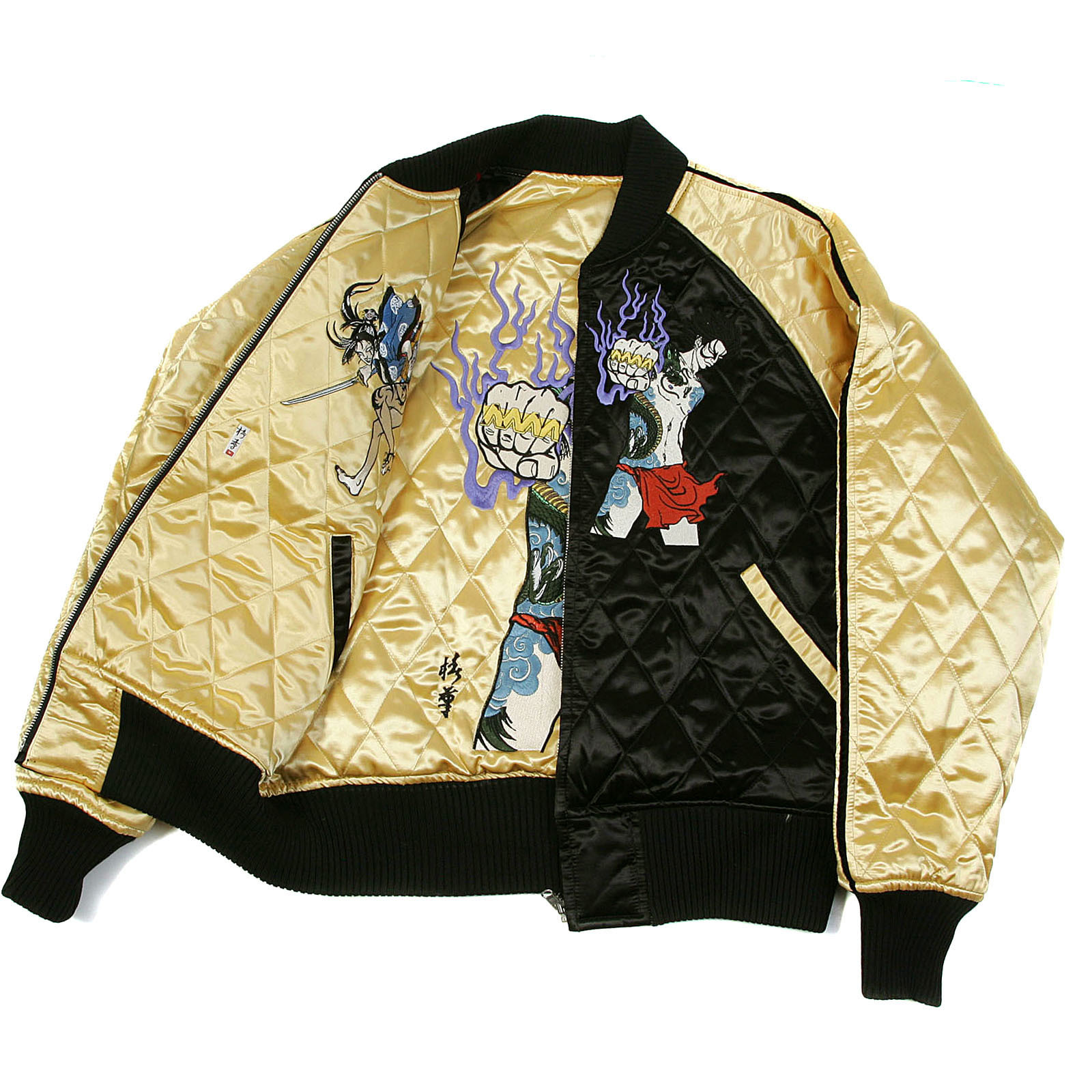 Shop For Gold And Black Quilted Yoropiko Mens Souvenir Jacket