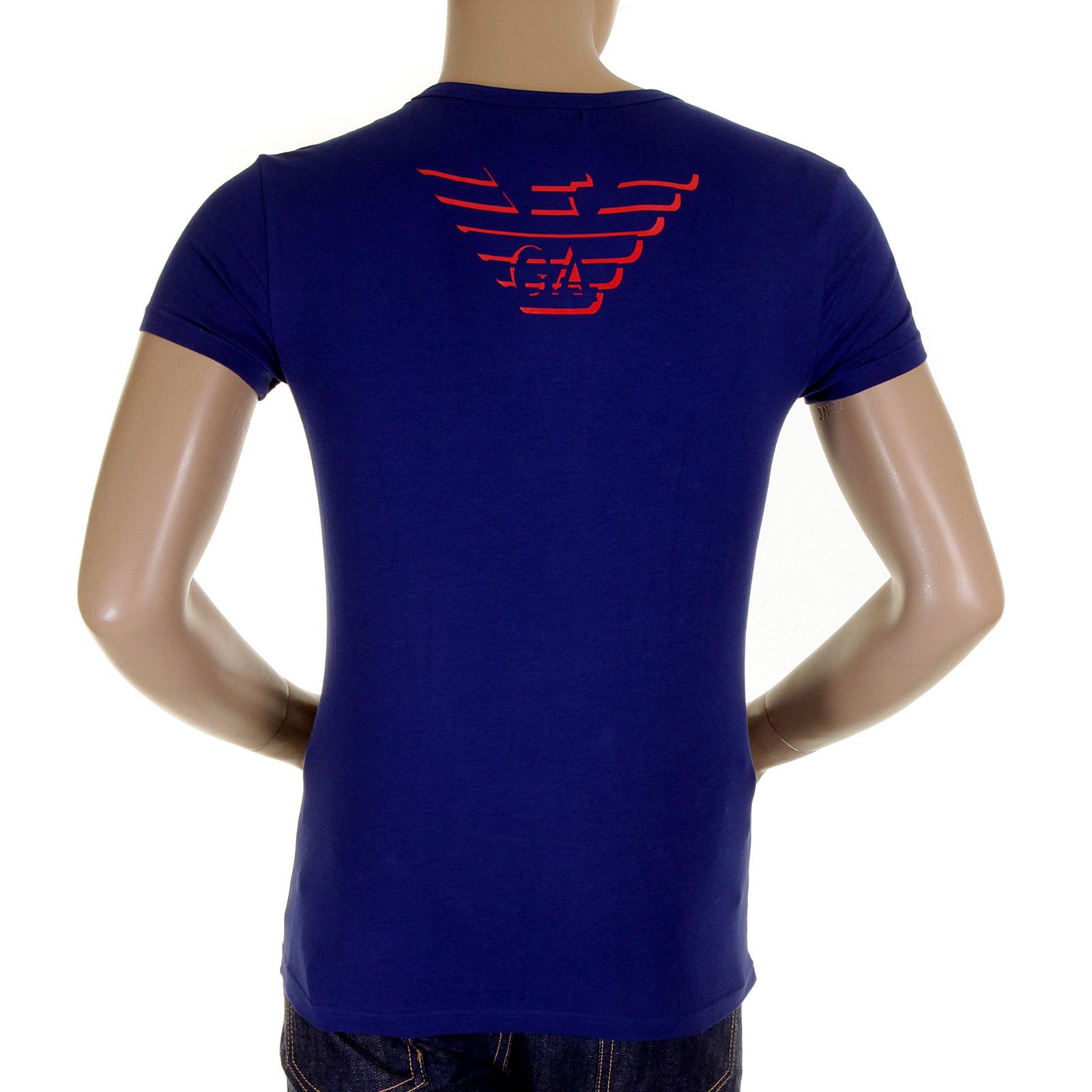 99dbb2b30331c Emporio Armani t shirt china blue v neck t shirt 110752 1S512 EAM1506 at Togged  Clothing