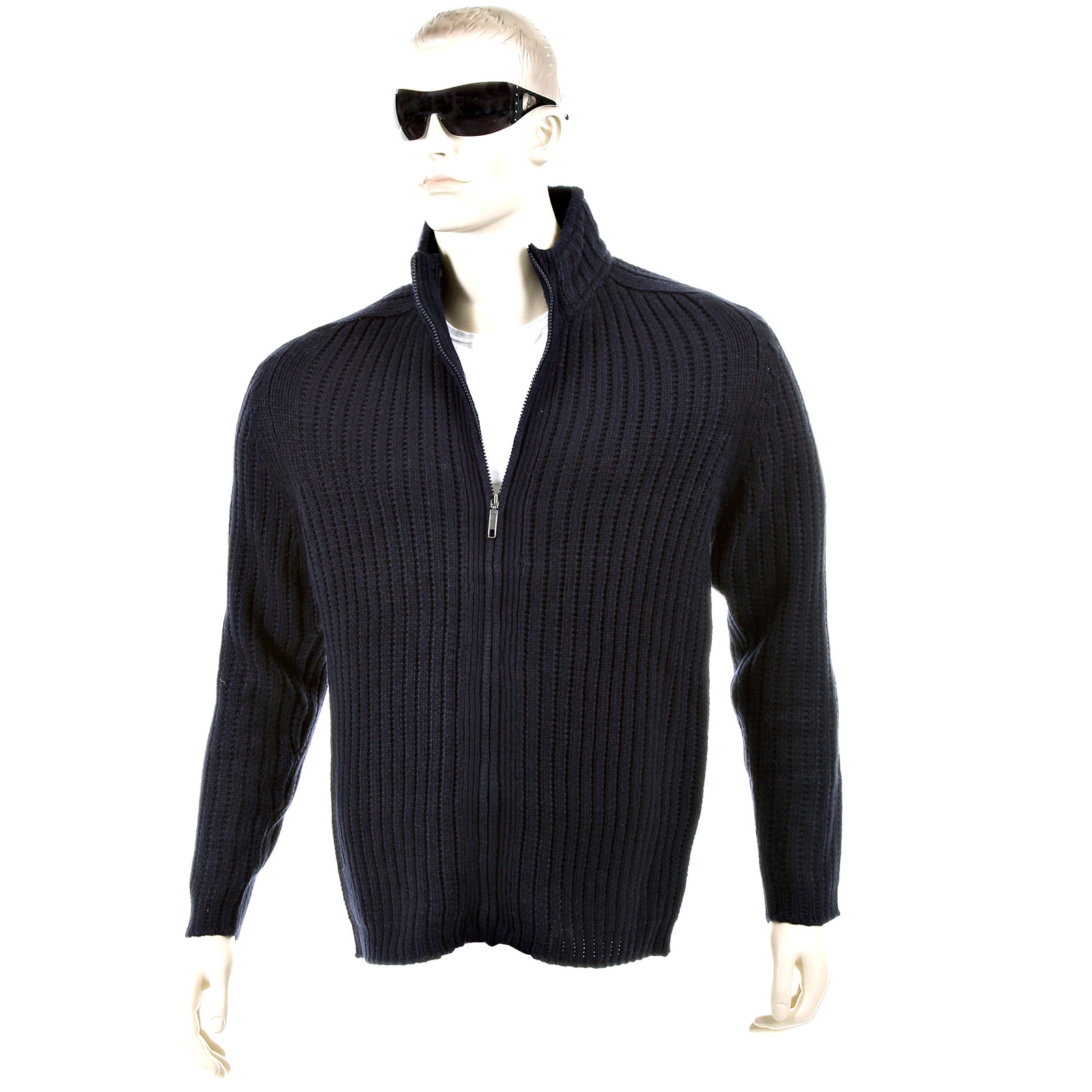 Thug or Angel Sweater Men's Jet Black collection dark navy ribbed ...