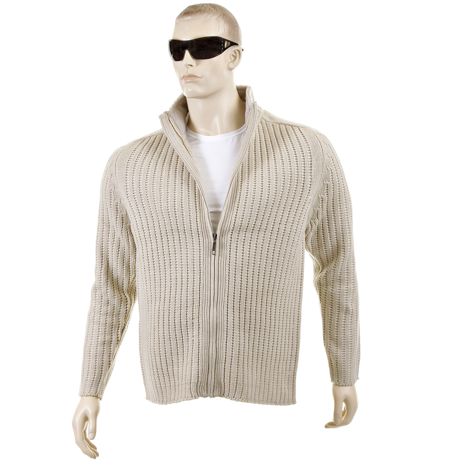 Thug or Angel Sweater Men's Jet Black collection beige ribbed zip ...
