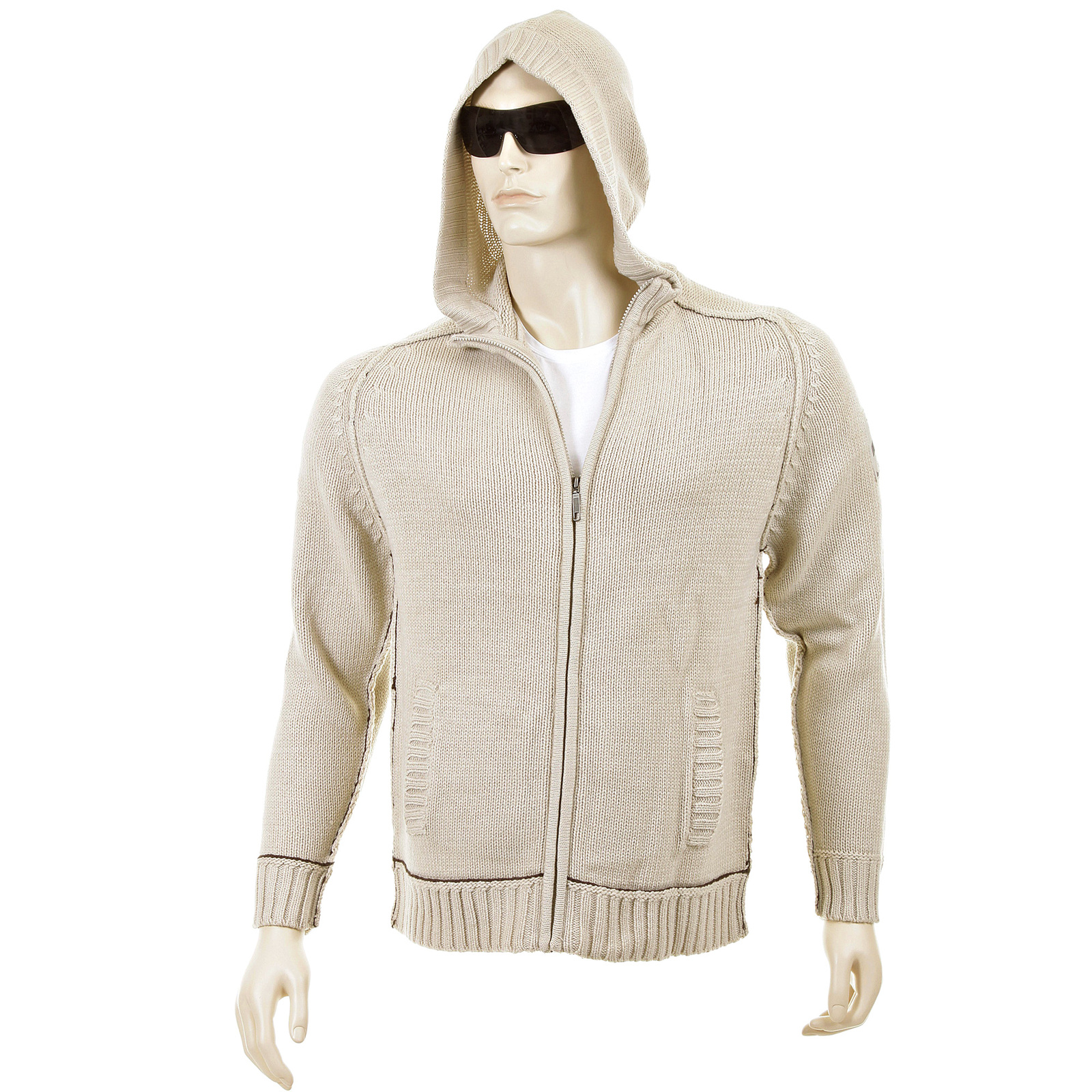 Thug or Angel Men's Jet Black collection knitted beige hooded zip ...