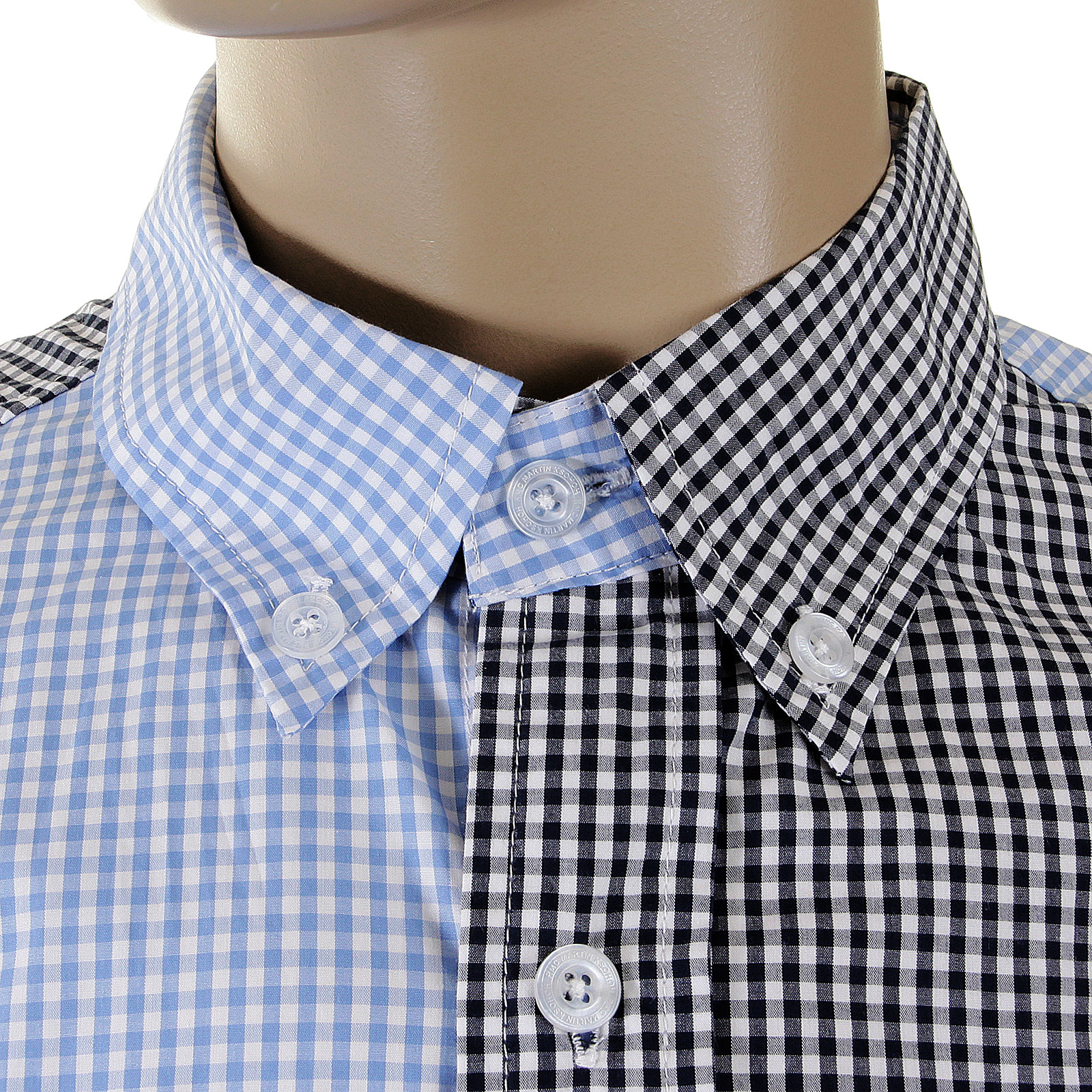 193166b2 RMC MKWS Mens Regular Fit Blue and Black Patch Shirt with Long Sleeve  Button Down Collar