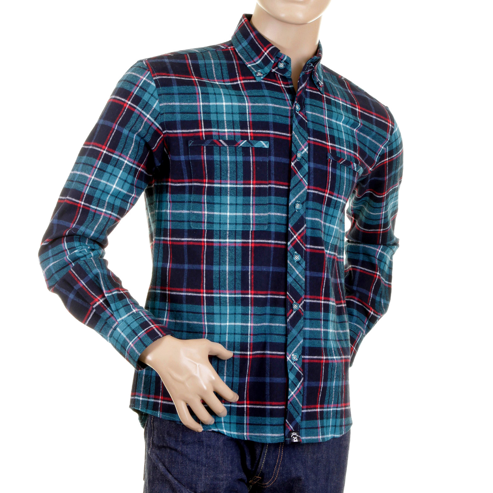 mens checkered shirt in turquoise blue by red monkey