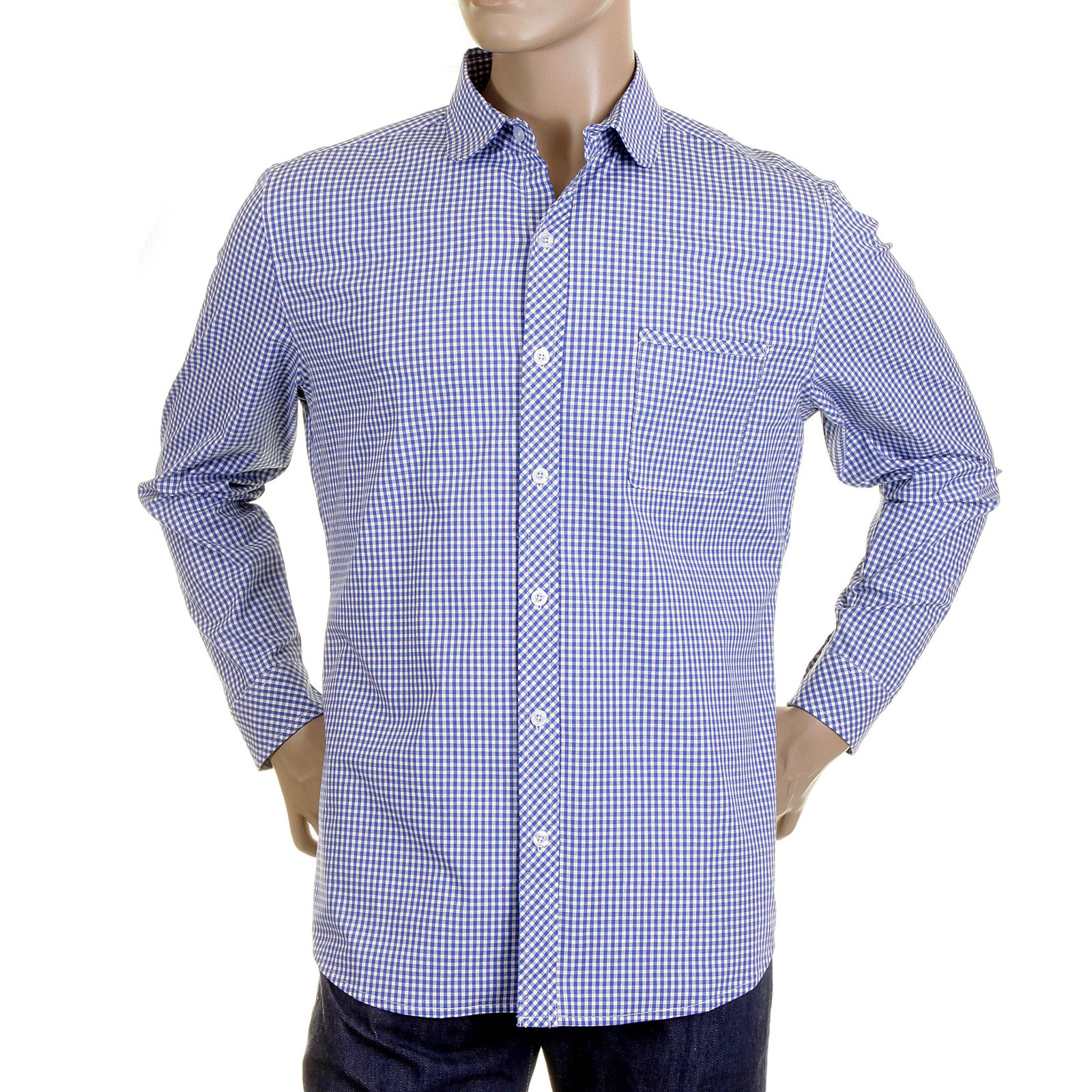 Buy red monkey mens checked shirt in blue and white for Blue and white long sleeve shirt