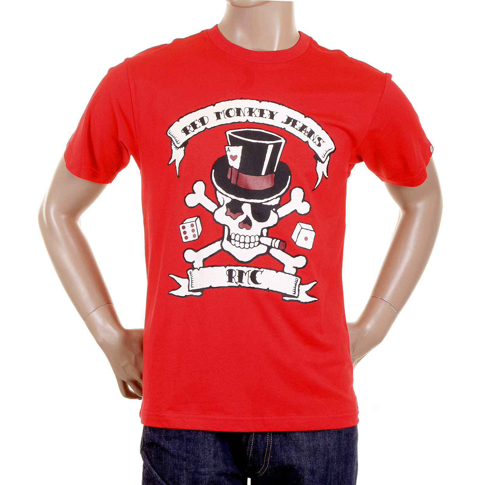 4a4284c858ff4 RMC Crew Neck Regular Fit Short Sleeve Smoking Skull and Crossbones Printed  T Shirt in Red