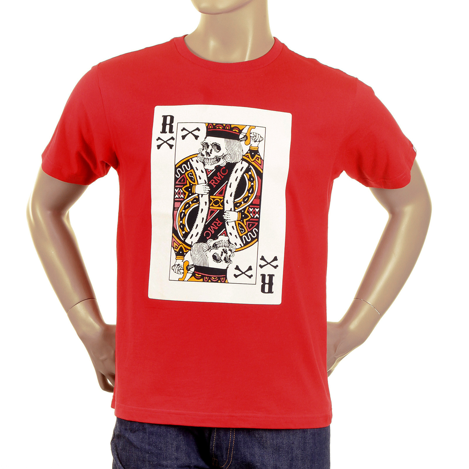 RMC Martin Ksohoh Red Short Sleeve Crew Neck Skull Poker Playing Card  Printed Red T Shirt a6df83d6a