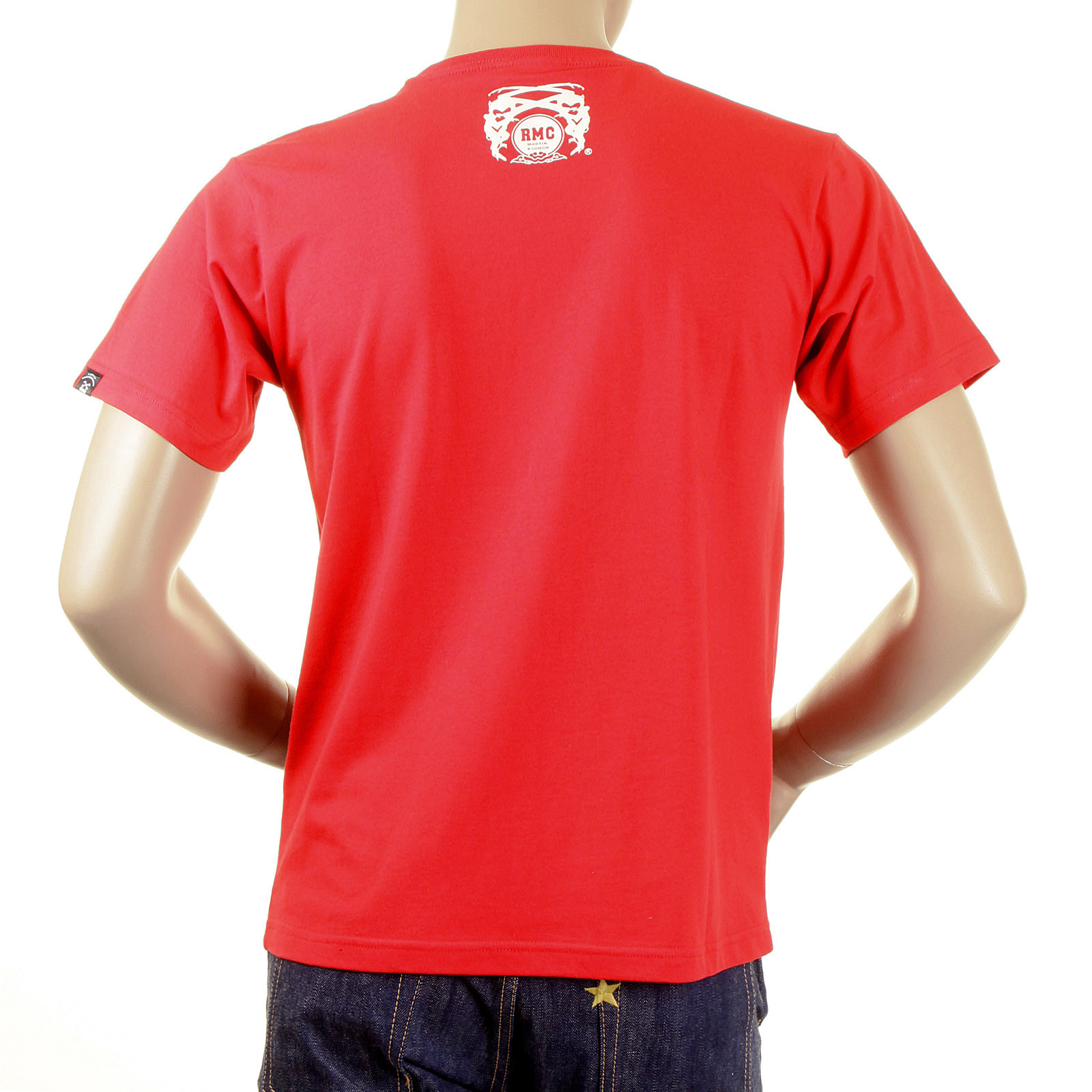 d383b531d2258 RMC Jeans Crew Neck Red Short Sleeve Regular Fit Skull Poker Playing Card Printed  T Shirt