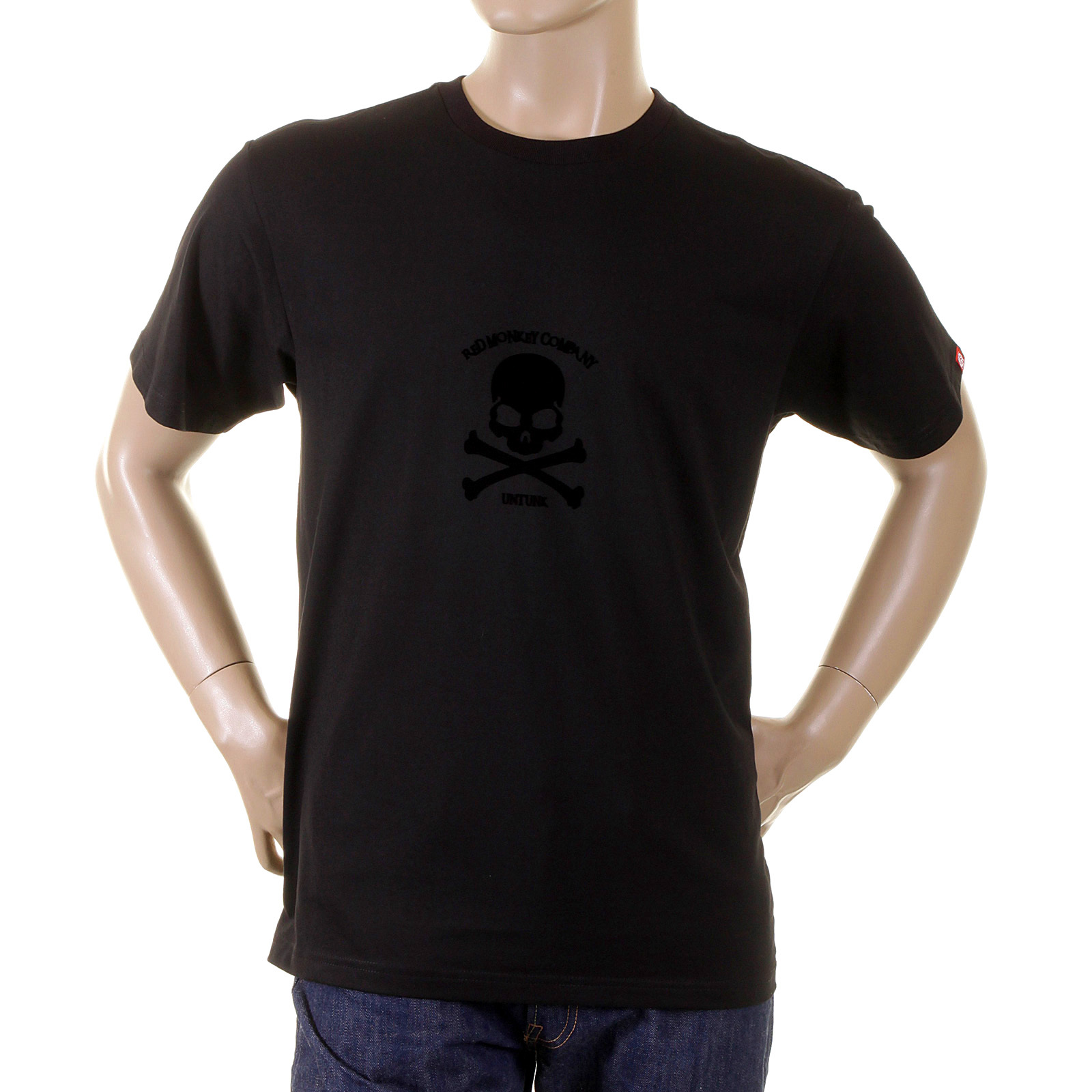 f22cfa0c79cf RMC Regular Fit Crew Neck Short Sleeve T-Shirt with Flock Printed Black  Skull and
