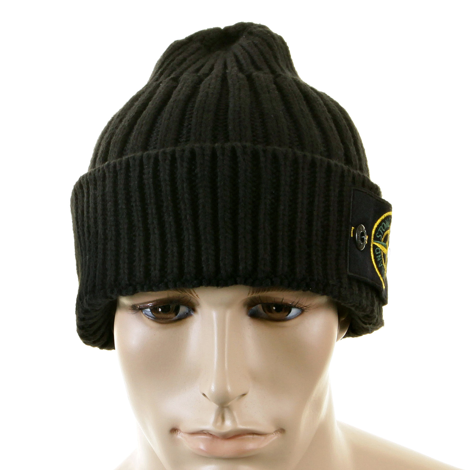 Stone Island Beanie Black roll beanie hat 5515N01D5 SI2180 at Togged ...