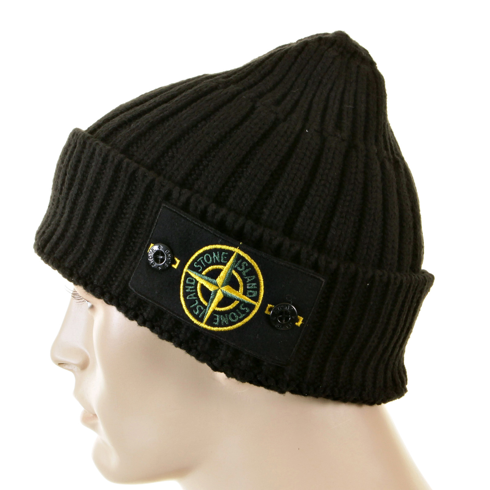 Stone Island Beanie Black roll beanie hat 5515N01D5 SI2180 at Togged ... c1ea8bd681b