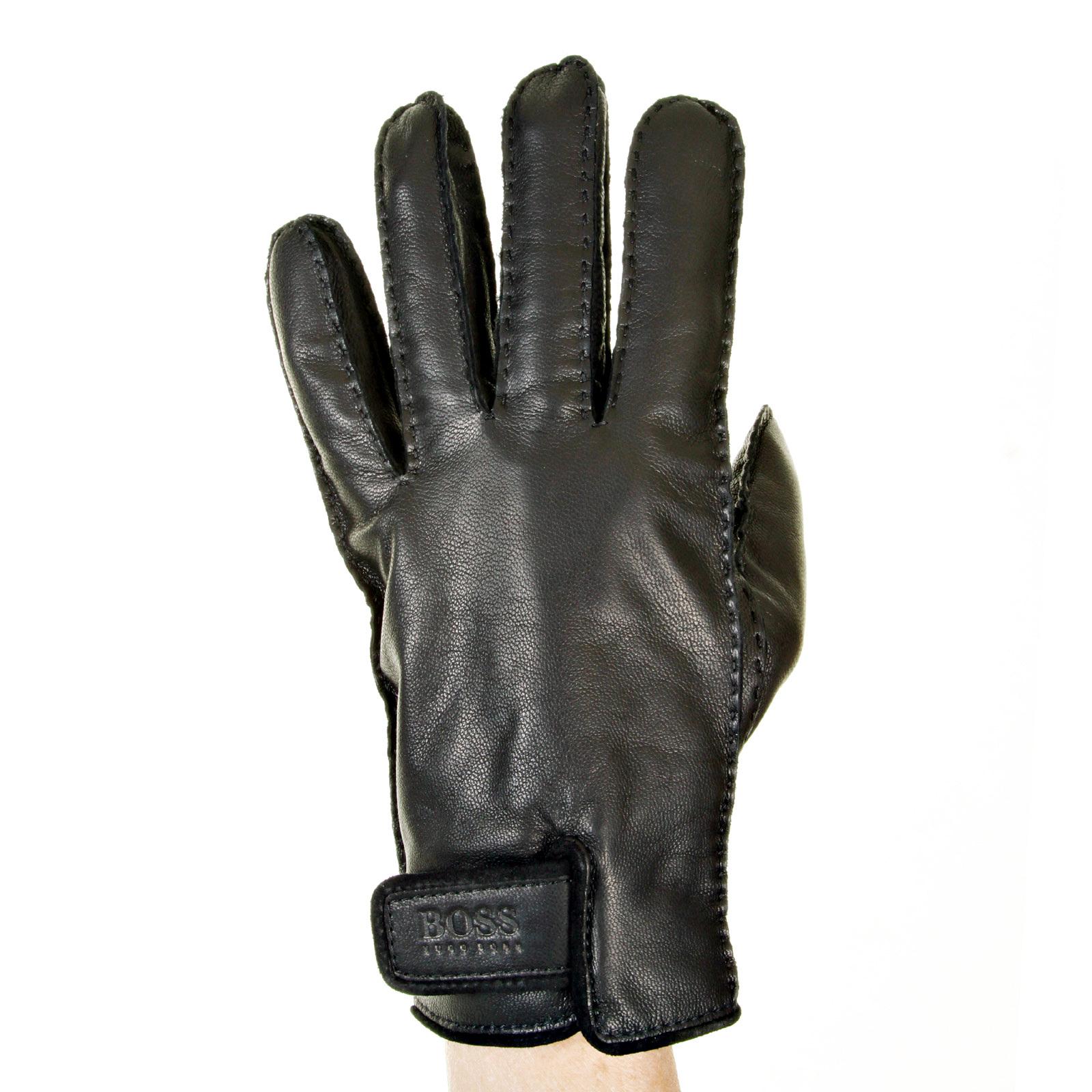 Hugo boss ladies leather gloves - Hugo Boss Gloves Black Leather 50211301 Kranto Boss2516