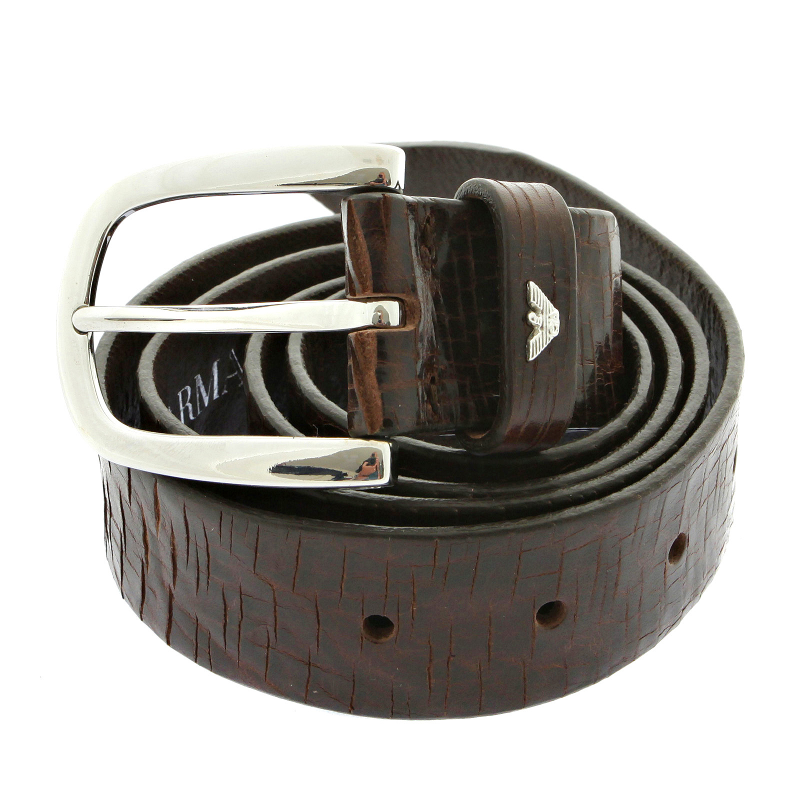 armani chocolate brown leather belt q6116 73 ajm2408