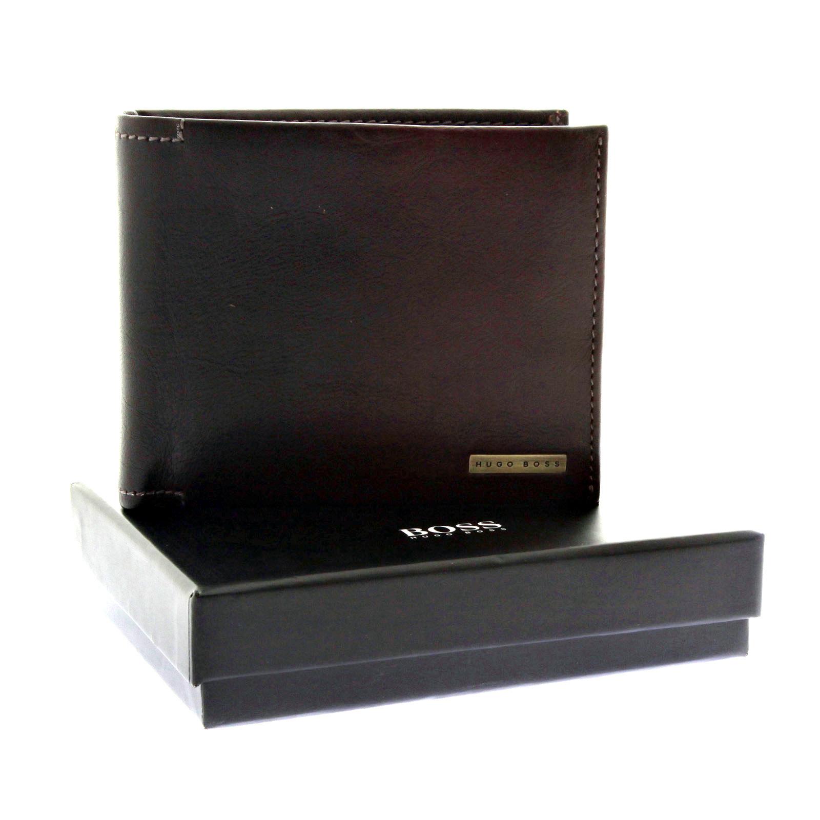 hugo boss wallet yersett boxed brown leather wallet