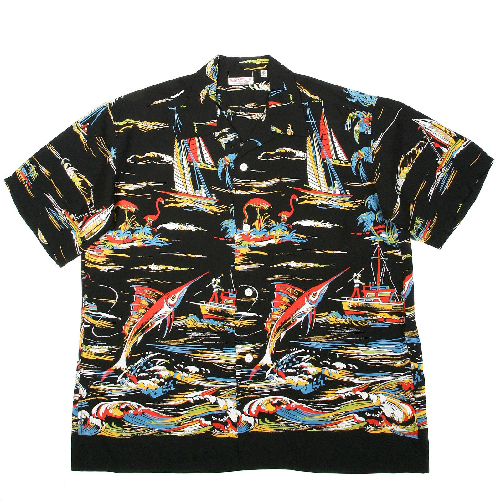Sun surf hawaiian shirts ss33322 hawaiian fishing boat for Fish hawaiian shirt