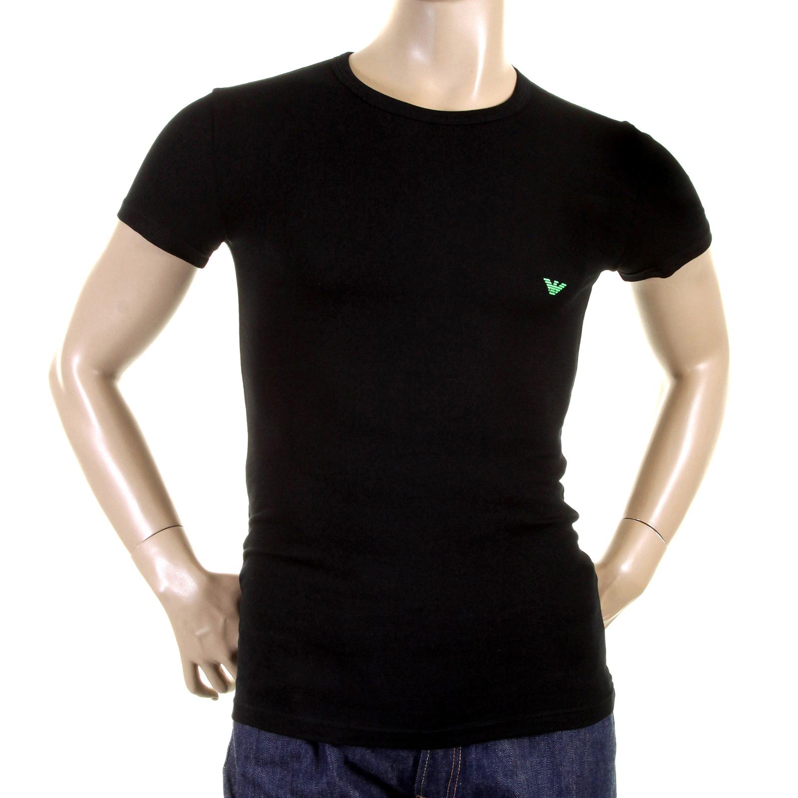 emporio armani t shirts black crew neck logo t shirt. Black Bedroom Furniture Sets. Home Design Ideas