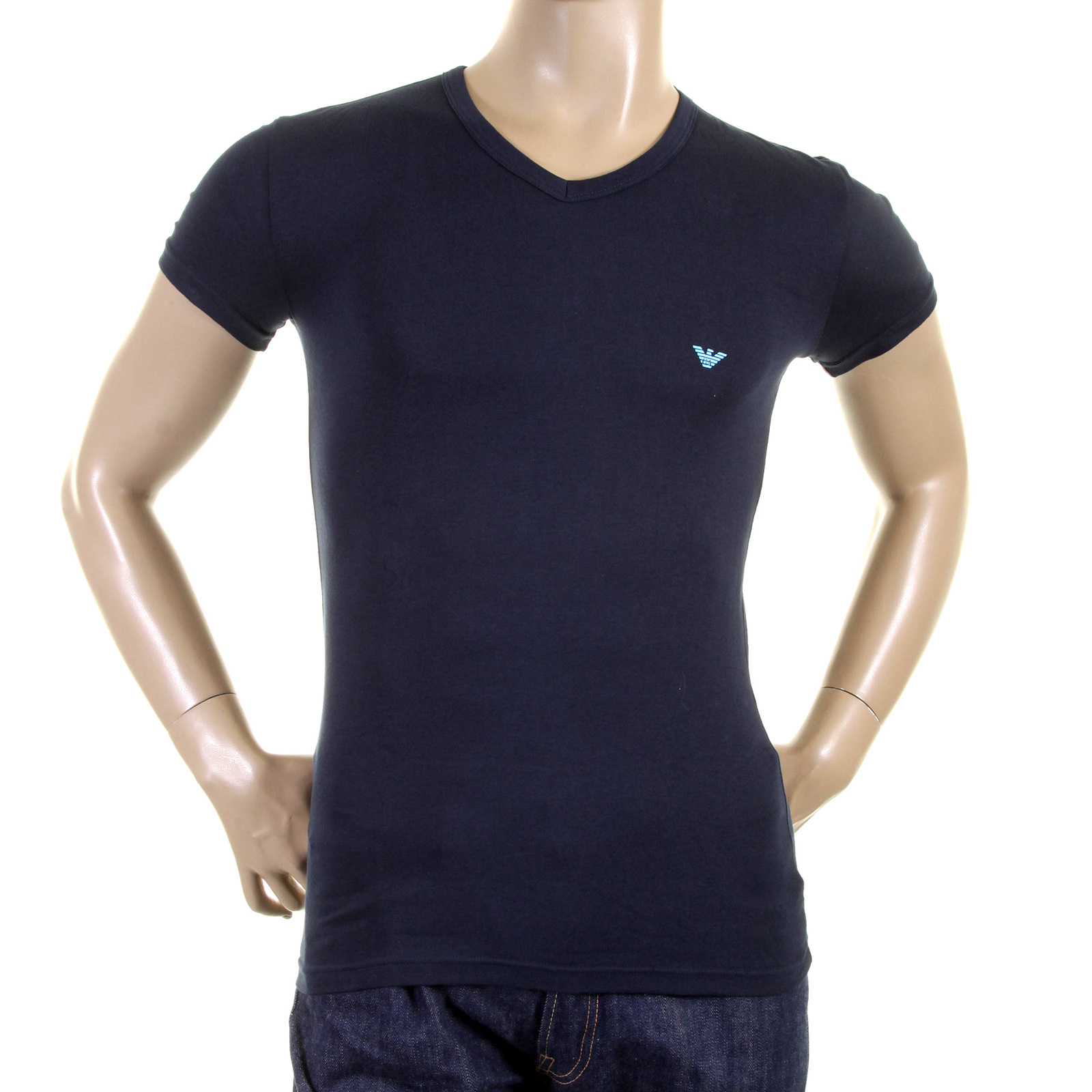 emporio armani t shirts navy blue v neck logo t shirt. Black Bedroom Furniture Sets. Home Design Ideas