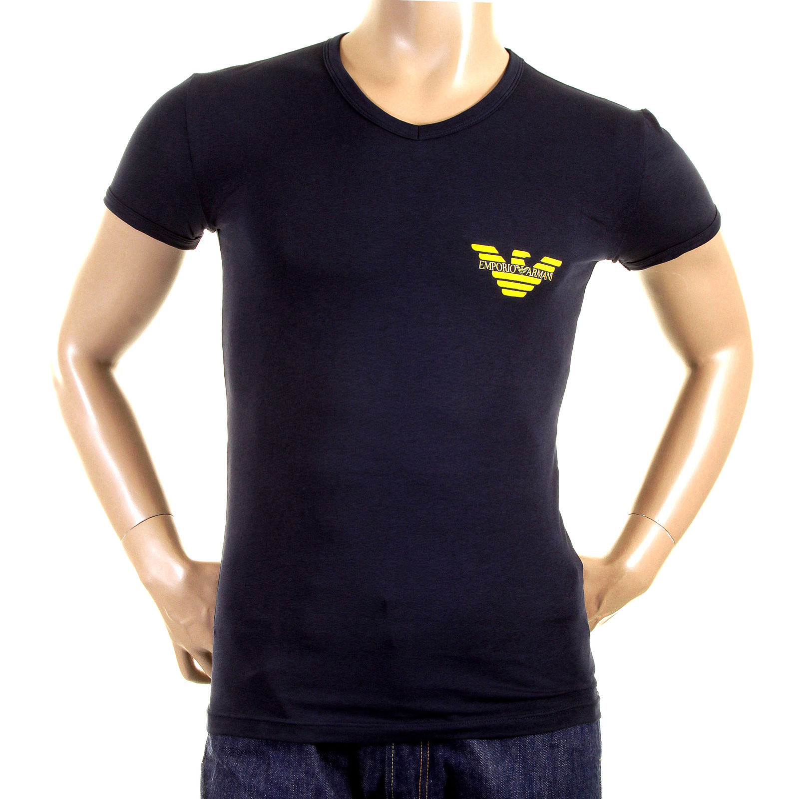 emporio armani t shirts navy v neck t shirt 111221 1w515 eam2382 at togged clothing. Black Bedroom Furniture Sets. Home Design Ideas