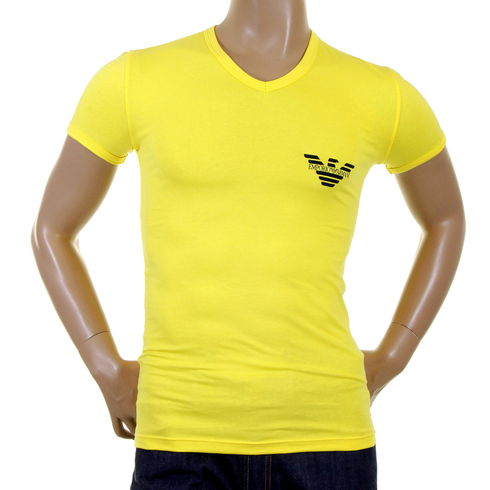 emporio armani t shirts lemon v neck t shirt 111221 1w515 eam2384 at togged clothing. Black Bedroom Furniture Sets. Home Design Ideas