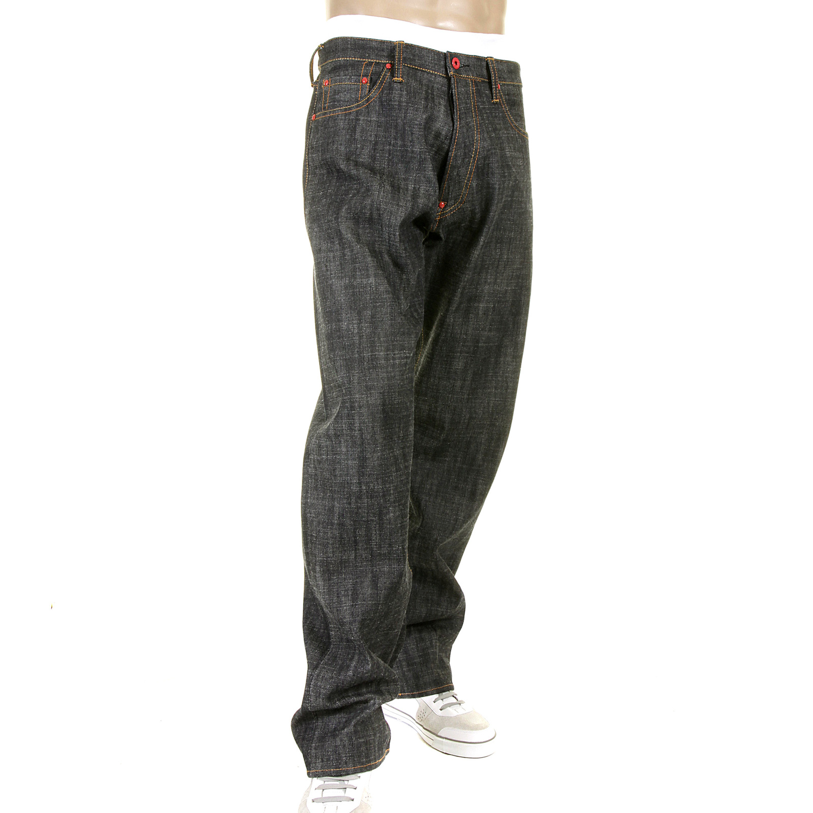 Red Monkey Vintage Fit Black Raw Selvedge Denim Jeans