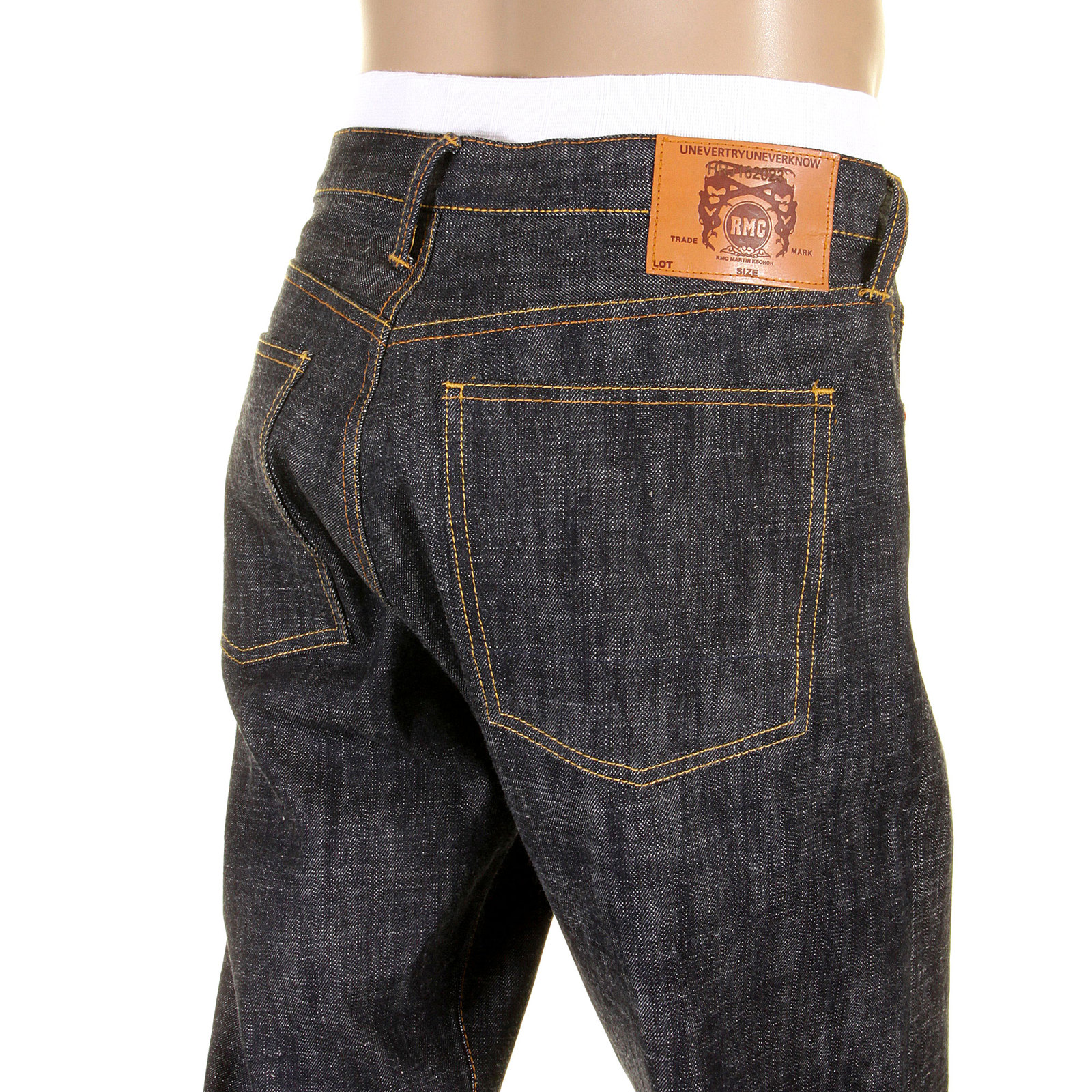 Shop for Black Raw Selvedge Denim Jeans by Red Monkey
