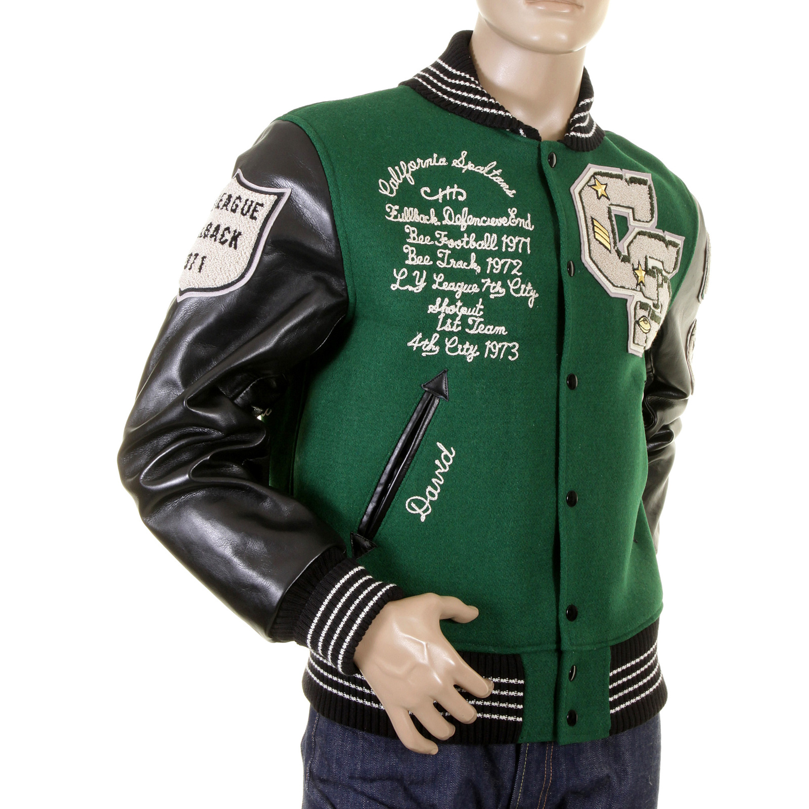 Buy Uber Cool Stadium Jacket In Green By Whitesville