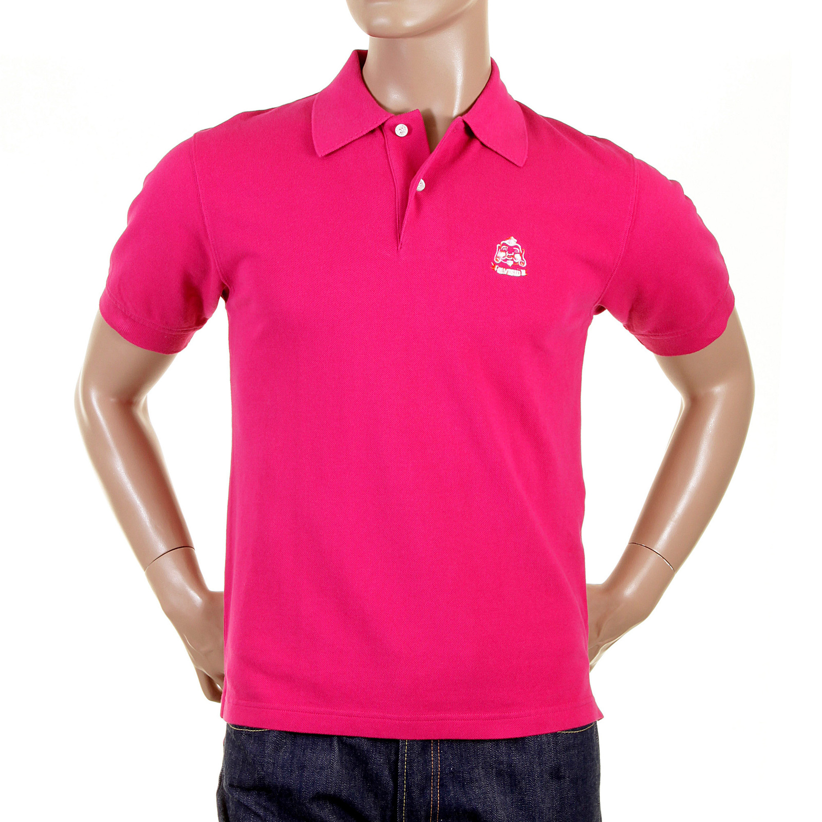 Wear the charm of the pink polo shirt by Evisu now!