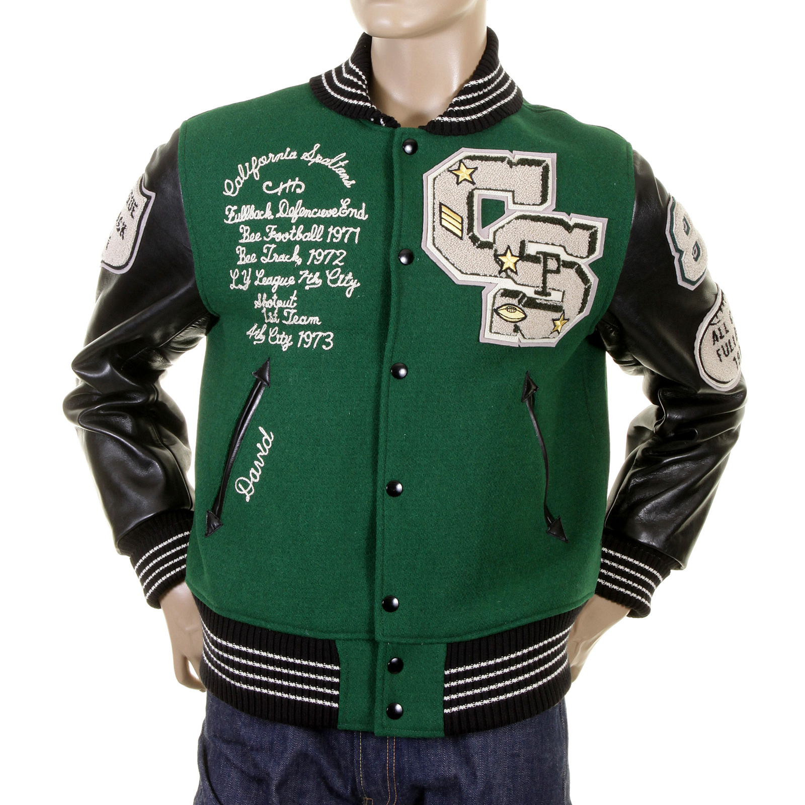 Mens Green Jacket with Leather sleeves by Sugarcane