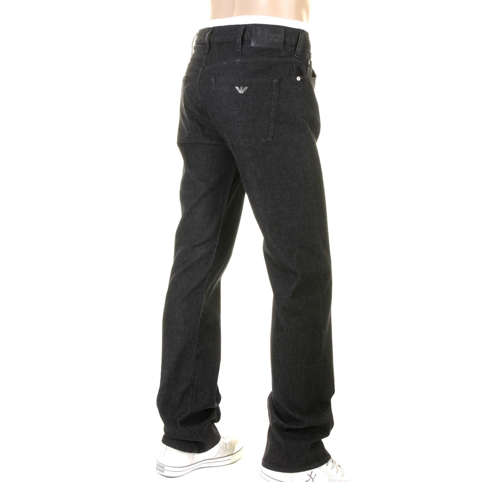 armani jeans j21 regular fit black stretch denim jean