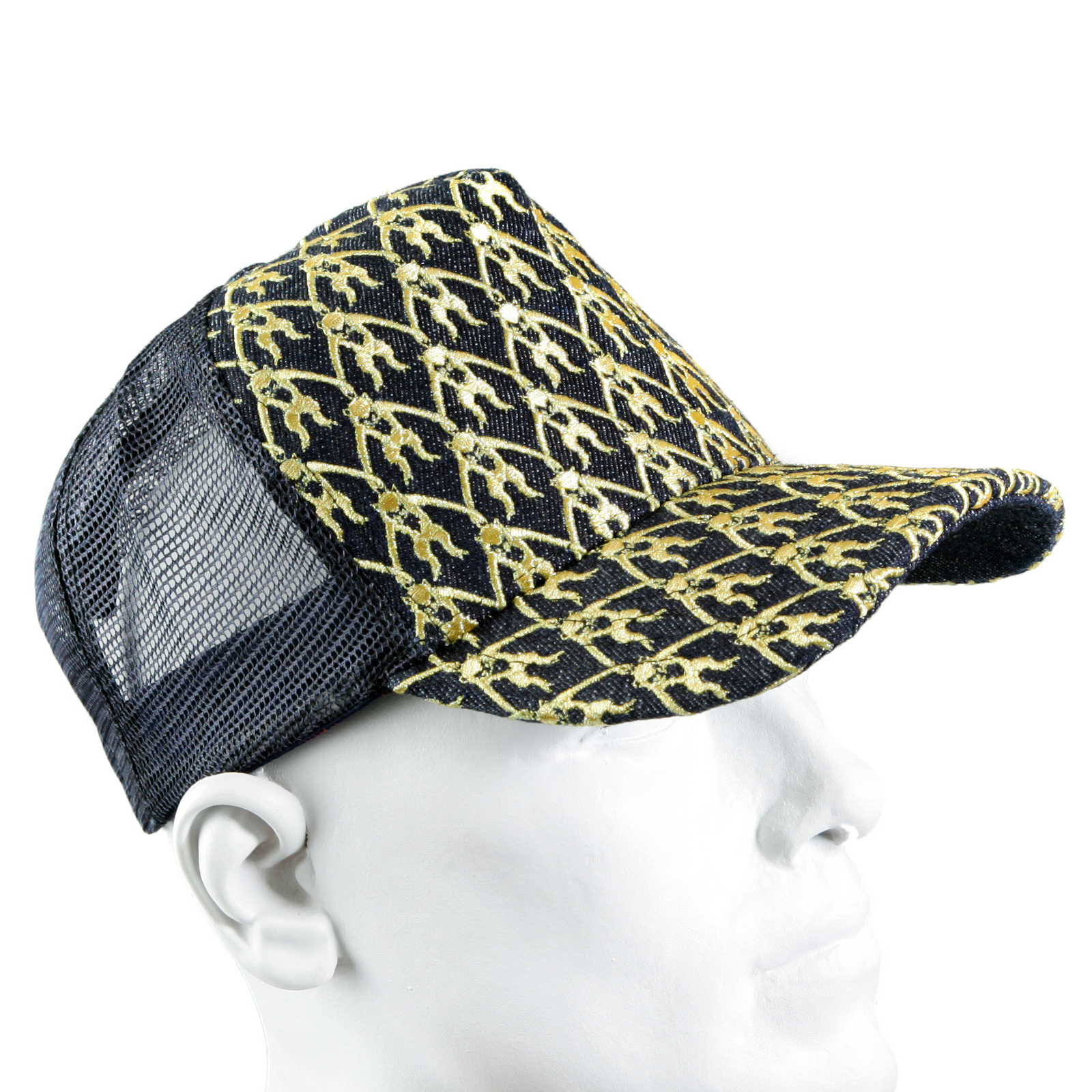 2977abf71ae RMC Jeans Mens Black Mesh Gold Logo Embroidered Cap REDM9097
