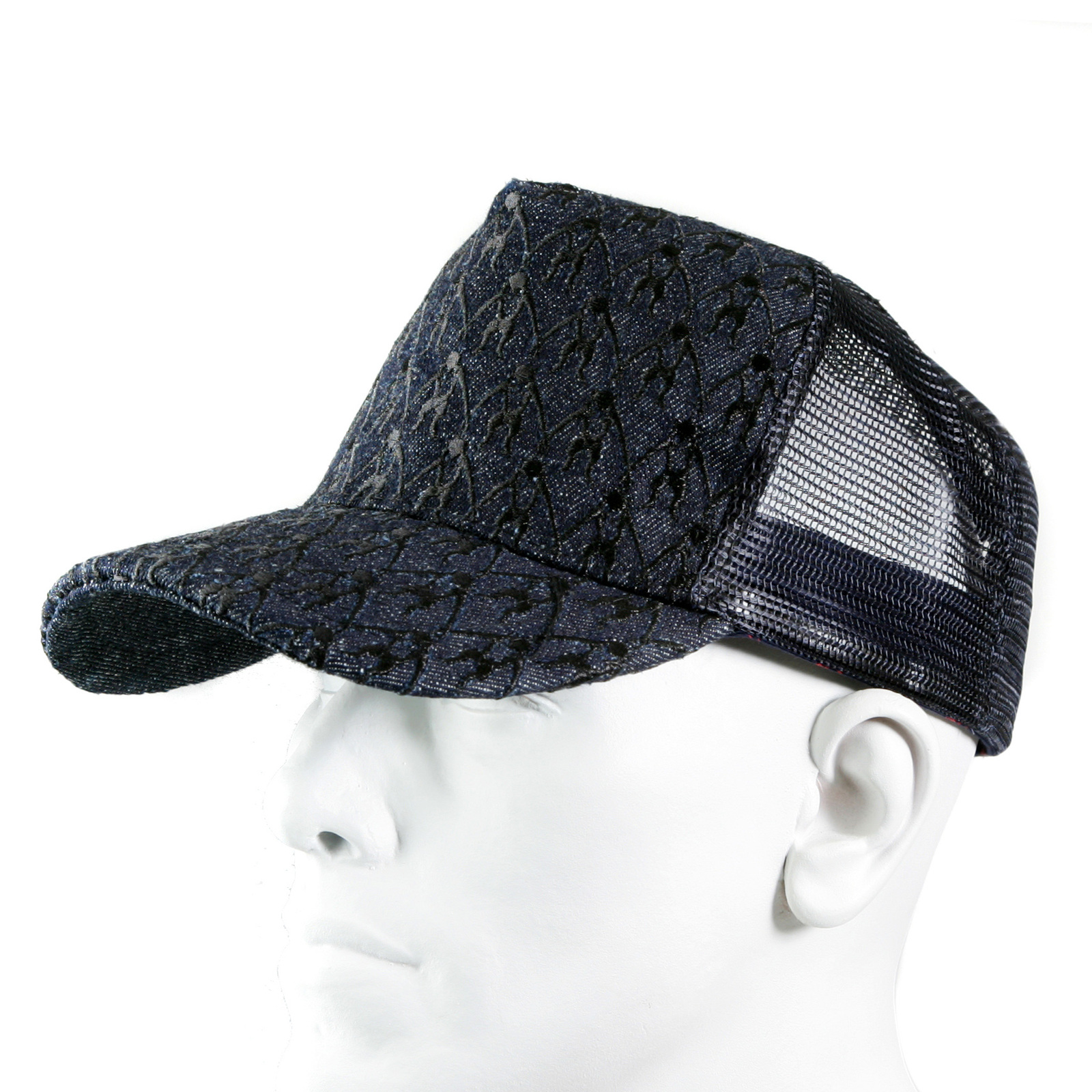6a8853ab6dc RMC Jeans Black Embroidered Logo Cap with Black Mesh for Men REDM9099