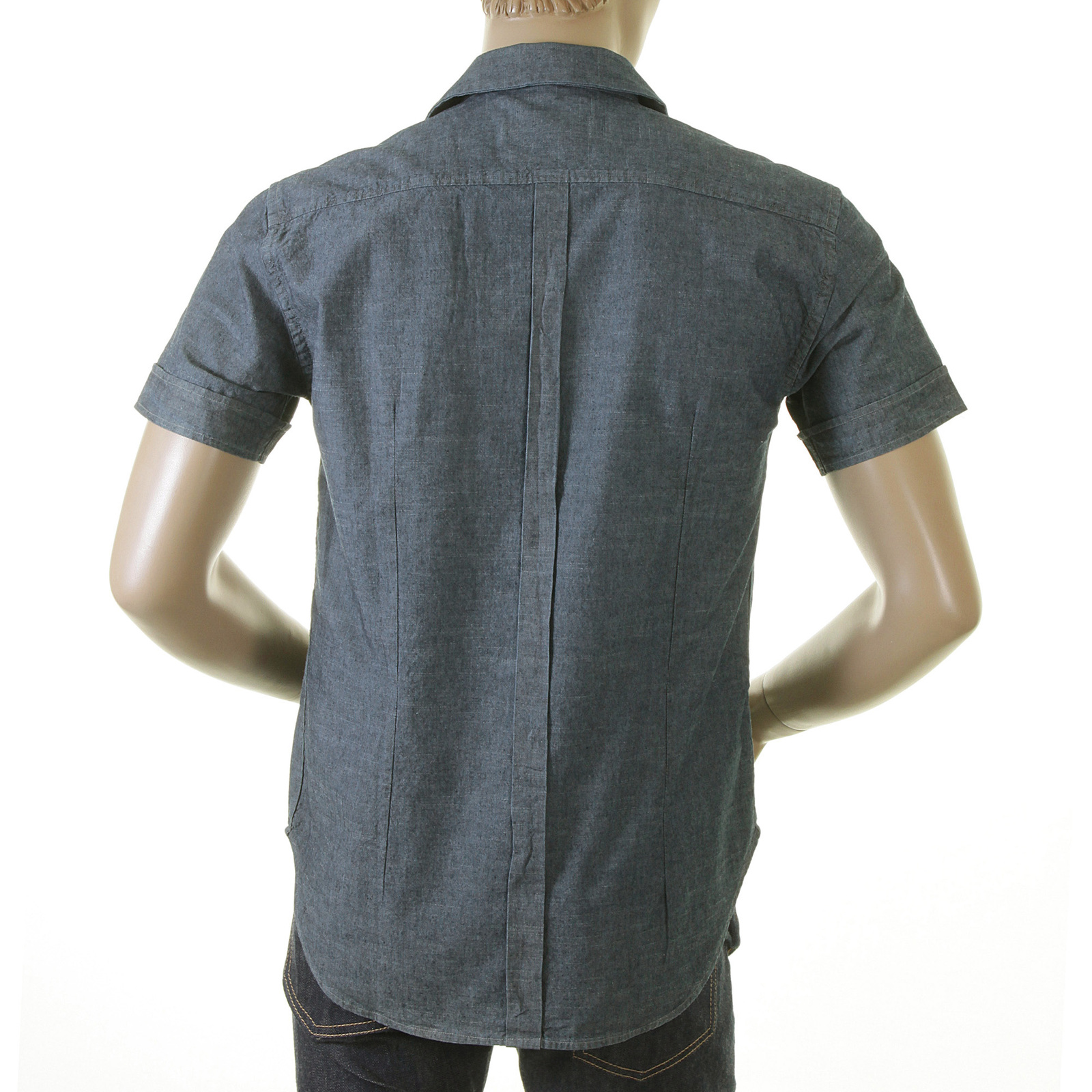 b3c72e7525a Evisu Mens Denim Blue Early Original 1 Pocket Chambray Short Sleeve Regular  Fit Chambray Shirt with Cuban Collar EVIS0137