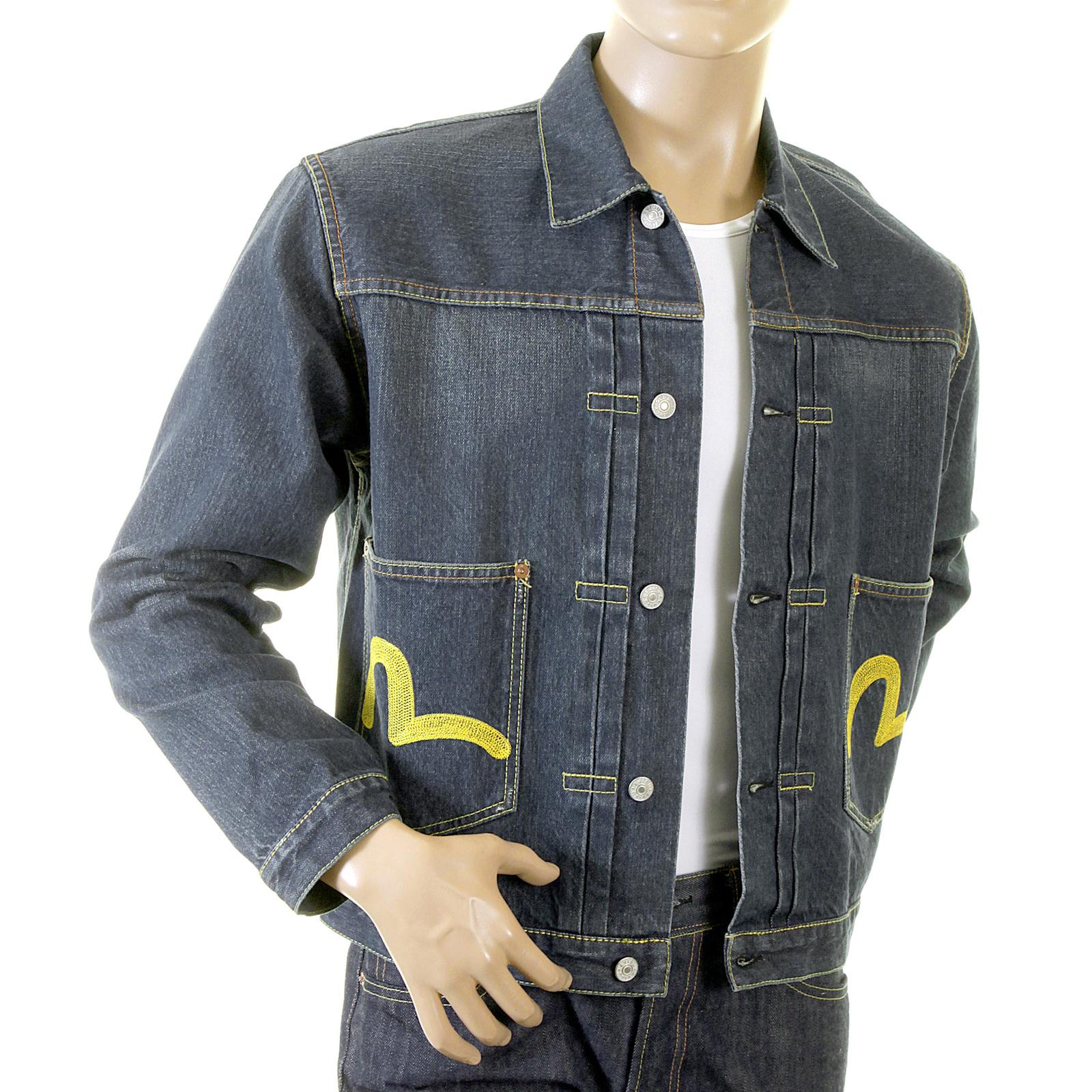 Shop For Washed Blue Evisu Denim Jacket With Whiskering