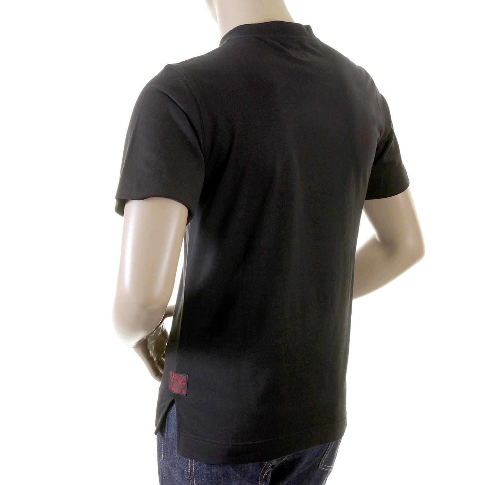 Black t shirt mens - Evisu Mens Black Crew Neck Short Sleeve Large Fitting Cotton T Shirt Evis2300