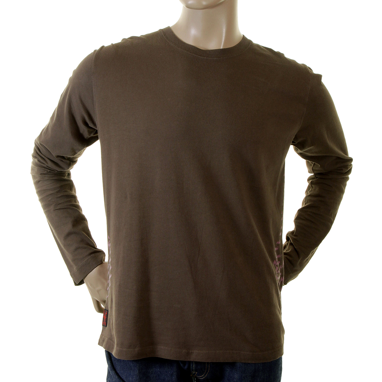 Chocolate brown mens long sleeve t shirt by evisu uk for Mens chocolate brown shirt