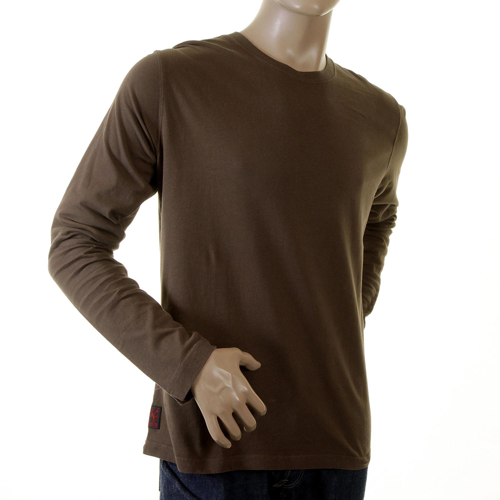 594ee7ea74 Evisu Genuine Mens Chocolate Brown Regular Fit Long Sleeve Crew Neck T Shirt  with Evisu Maniacs