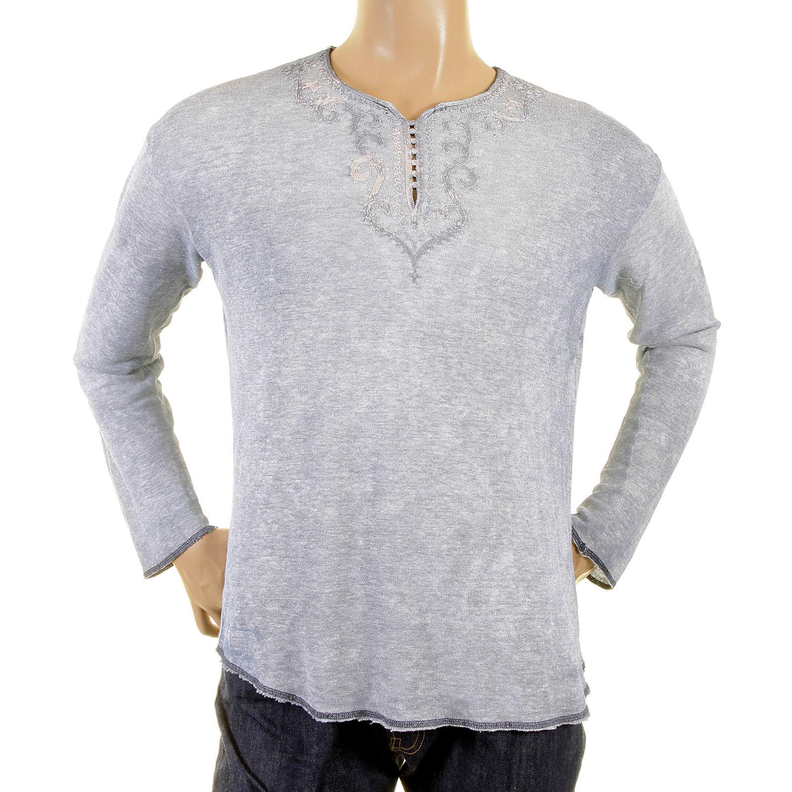 2bcfec22 Armani Jeans t shirts blue grey mesh hemp mix top AJM3612
