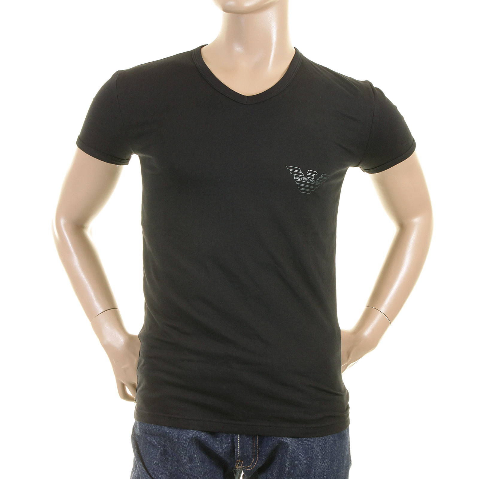 Emporio Armani T Shirts Black V Neck T Shirt 110810 2p515